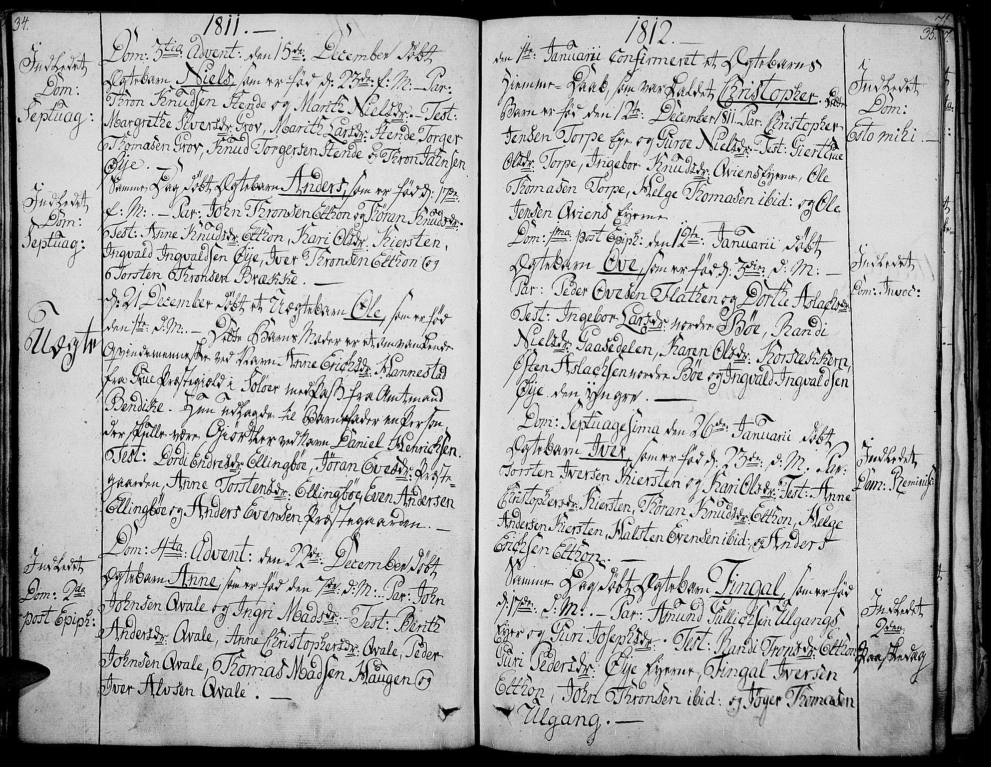 SAH, Vang prestekontor, Valdres, Ministerialbok nr. 3, 1809-1831, s. 34-35