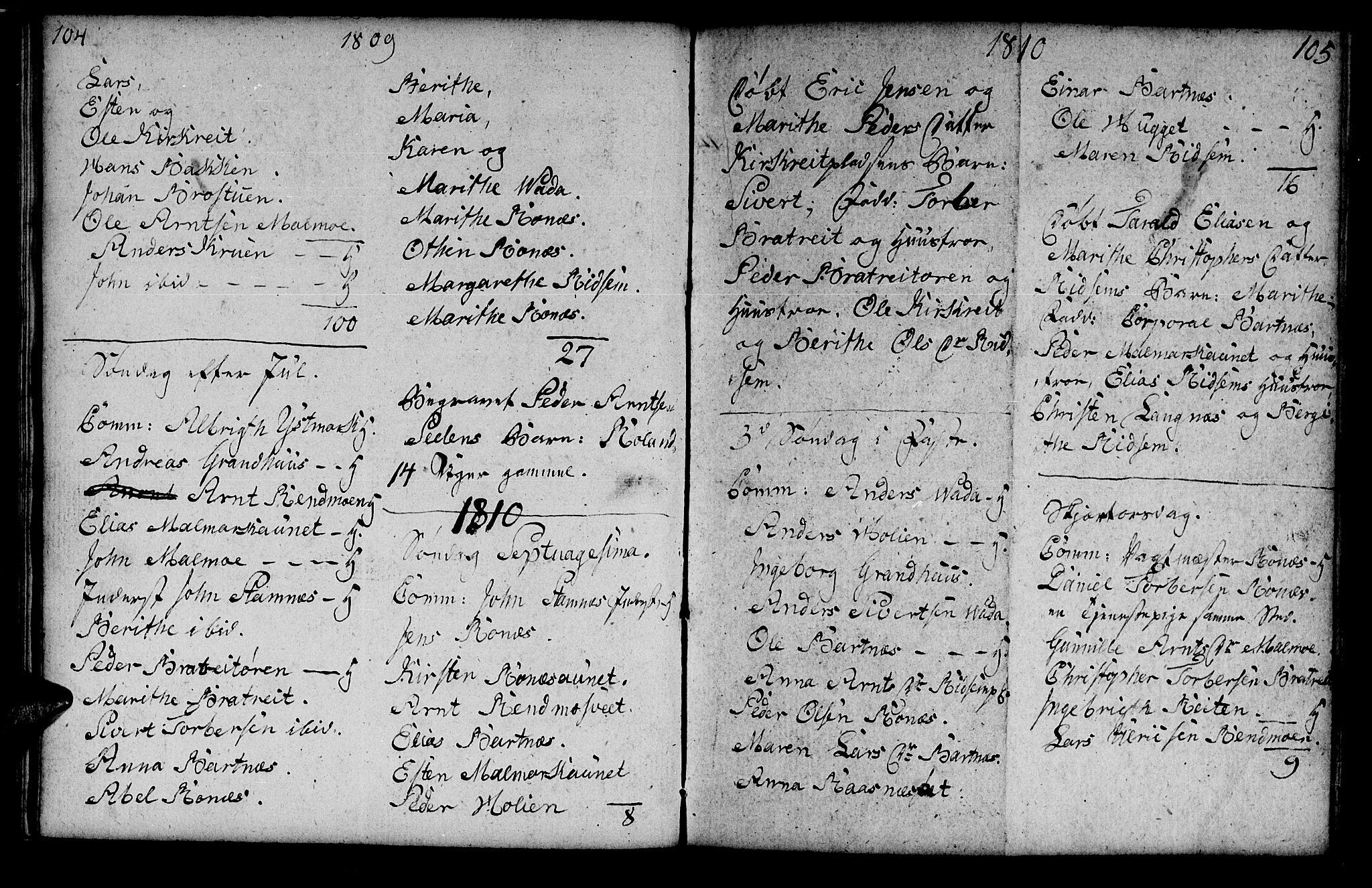 SAT, Ministerialprotokoller, klokkerbøker og fødselsregistre - Nord-Trøndelag, 745/L0432: Klokkerbok nr. 745C01, 1802-1814, s. 104-105