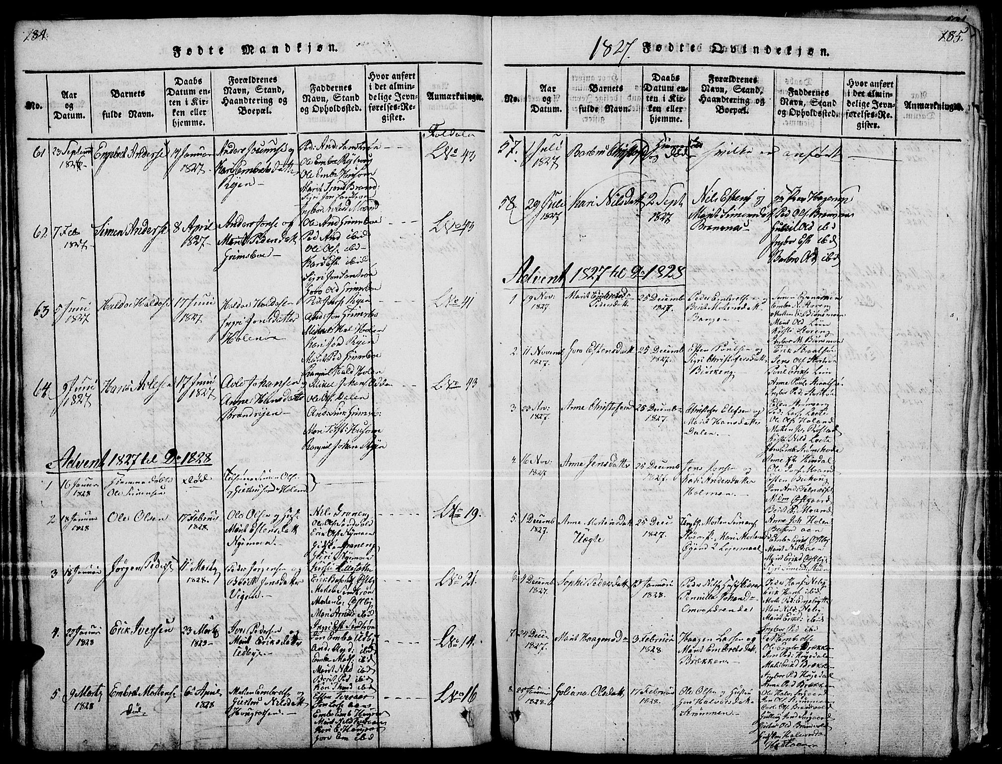 SAH, Tynset prestekontor, Ministerialbok nr. 18, 1815-1829, s. 184-185