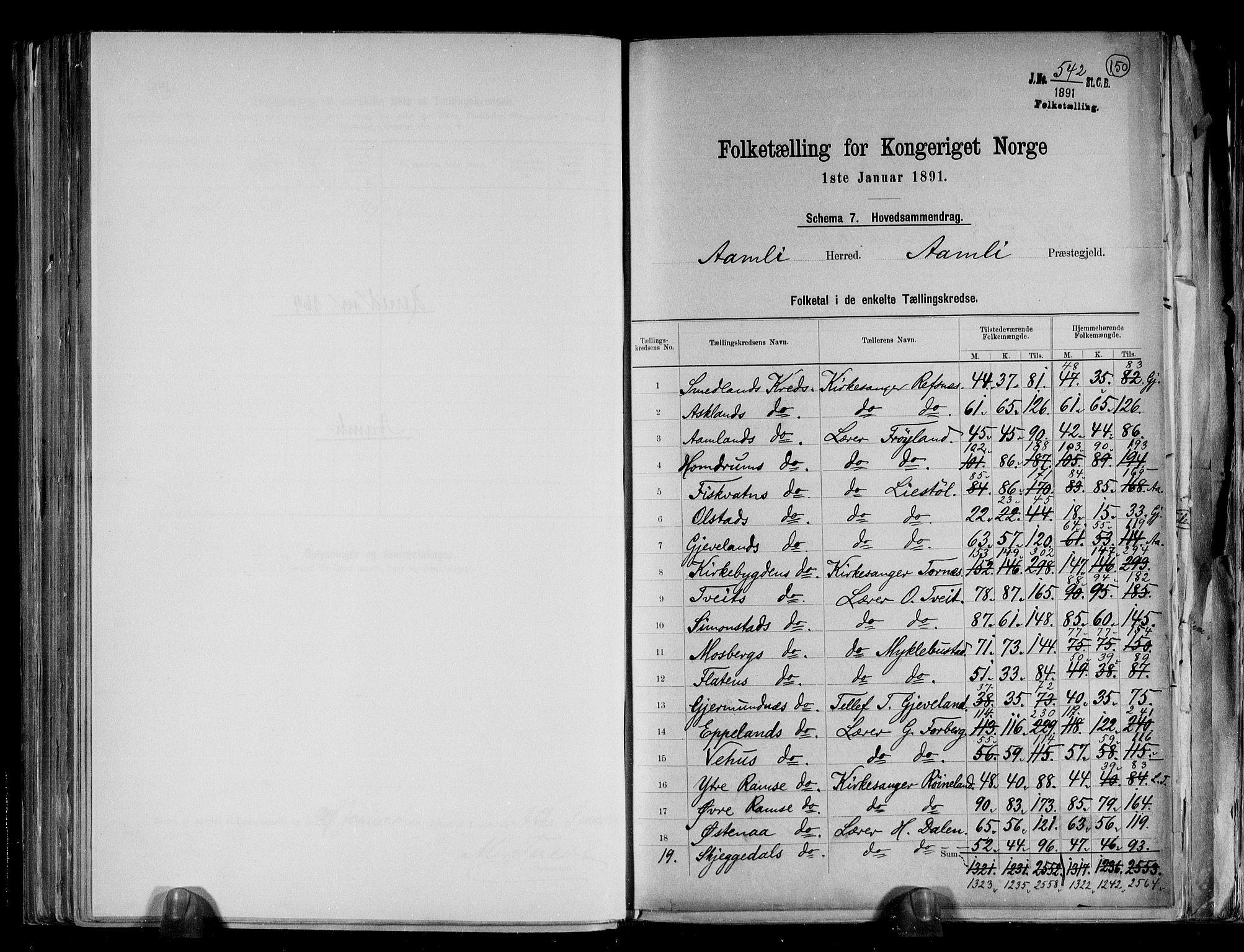 RA, Folketelling 1891 for 0929 Åmli herred, 1891, s. 2