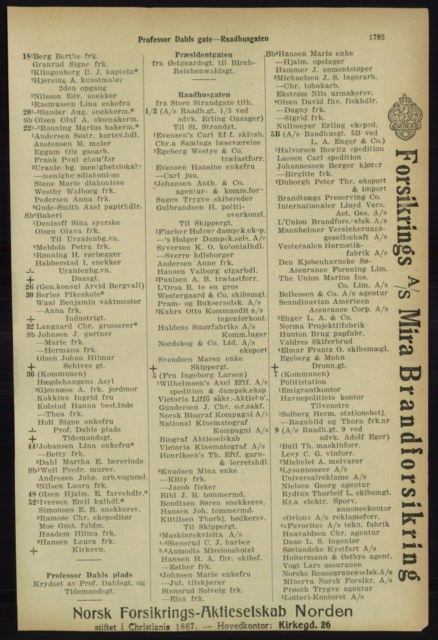 RA, Kristiania adressebok (publikasjon)*, 1918, s. 1785
