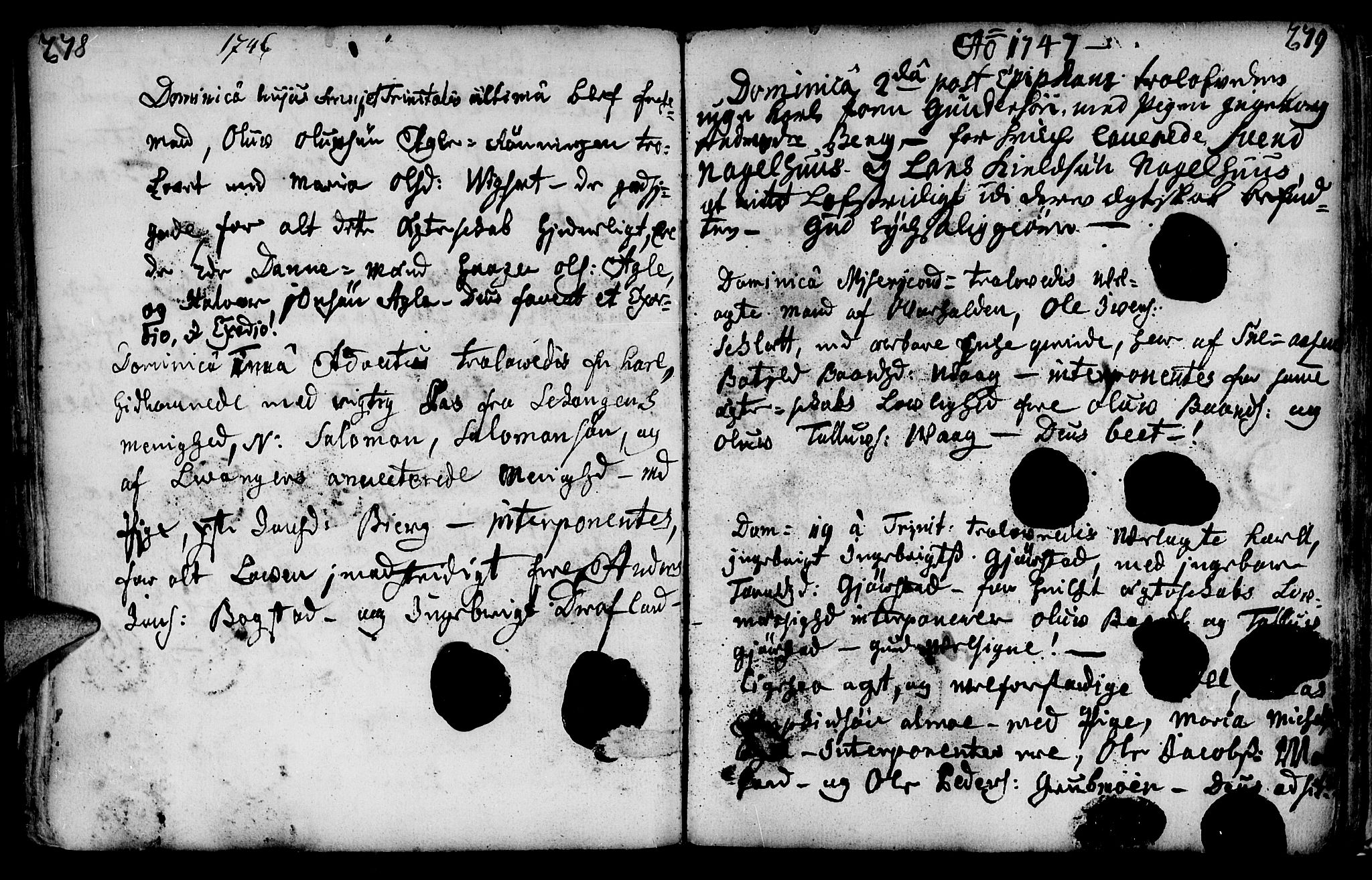 SAT, Ministerialprotokoller, klokkerbøker og fødselsregistre - Nord-Trøndelag, 749/L0467: Ministerialbok nr. 749A01, 1733-1787, s. 278-279