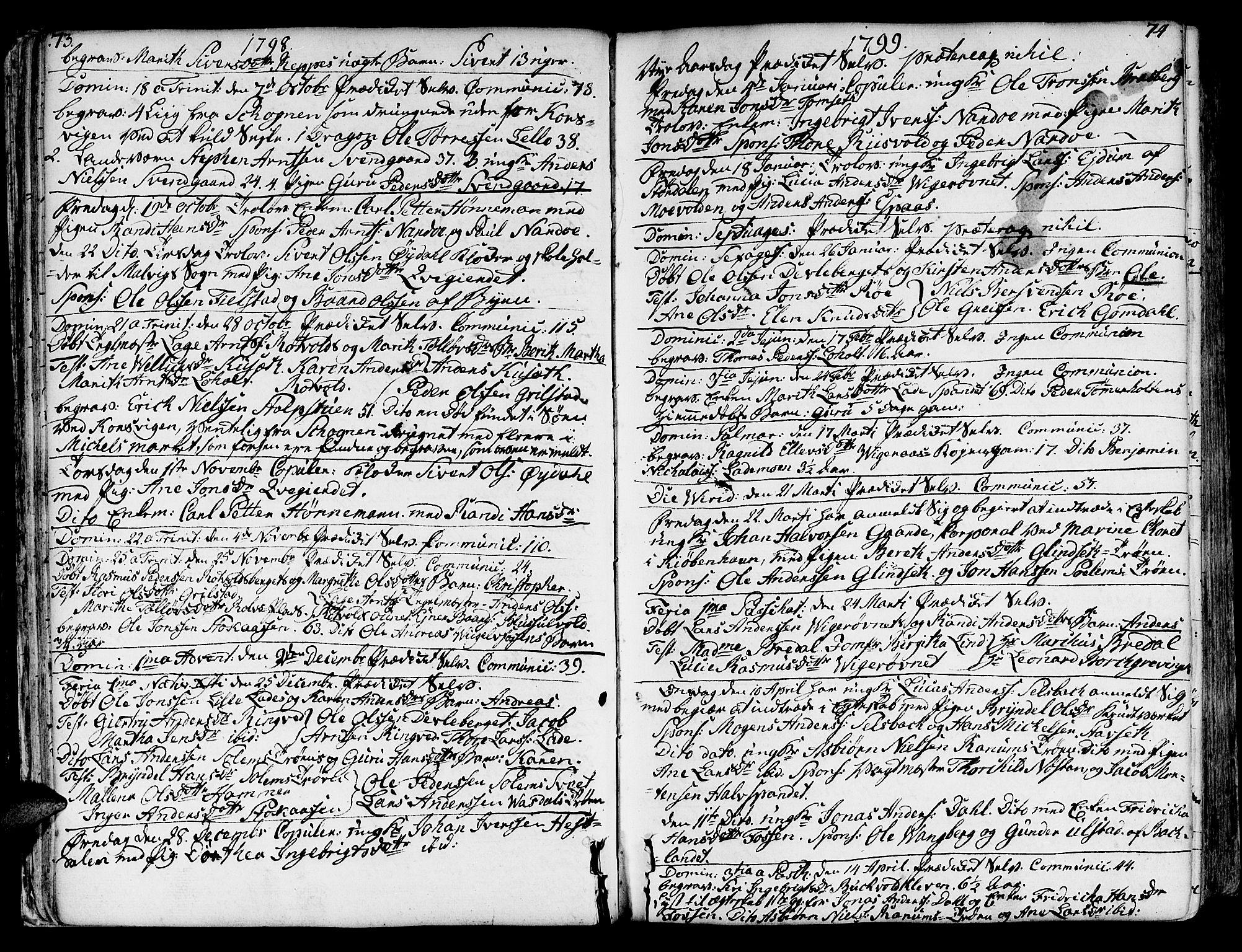 SAT, Ministerialprotokoller, klokkerbøker og fødselsregistre - Sør-Trøndelag, 606/L0280: Ministerialbok nr. 606A02 /1, 1781-1817, s. 73-74