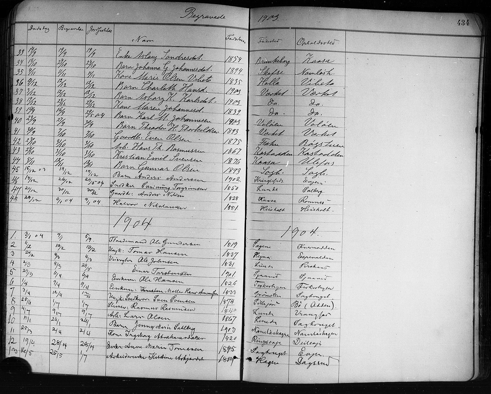 SAKO, Holla kirkebøker, G/Ga/L0005: Klokkerbok nr. I 5, 1891-1917, s. 434