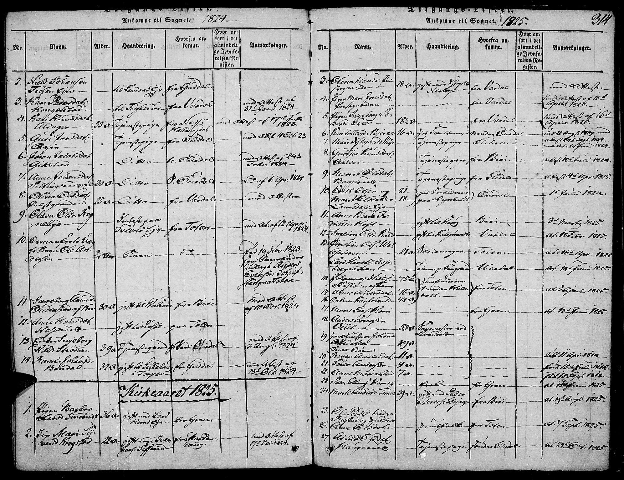 SAH, Land prestekontor, Ministerialbok nr. 7, 1814-1830, s. 314