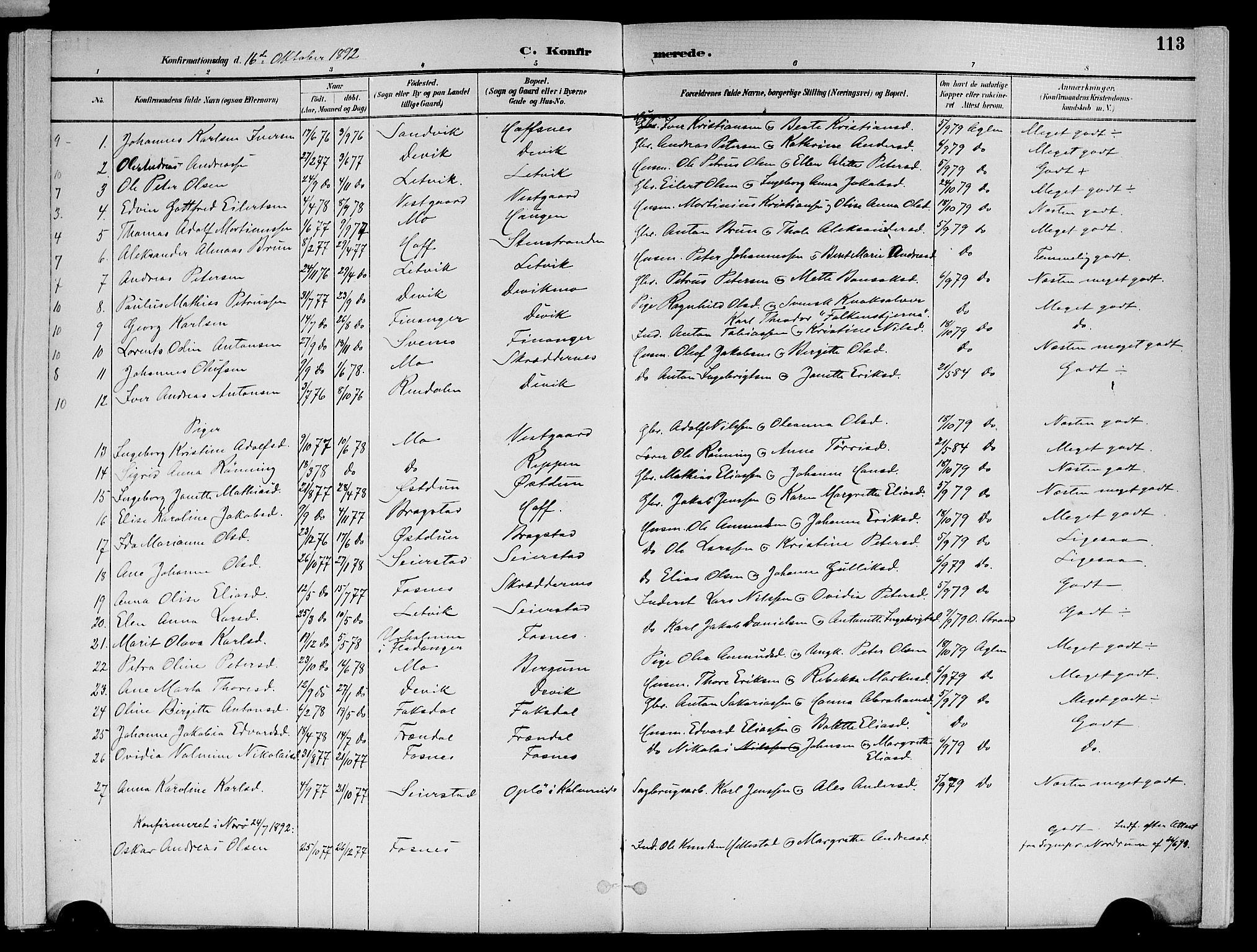SAT, Ministerialprotokoller, klokkerbøker og fødselsregistre - Nord-Trøndelag, 773/L0617: Ministerialbok nr. 773A08, 1887-1910, s. 113