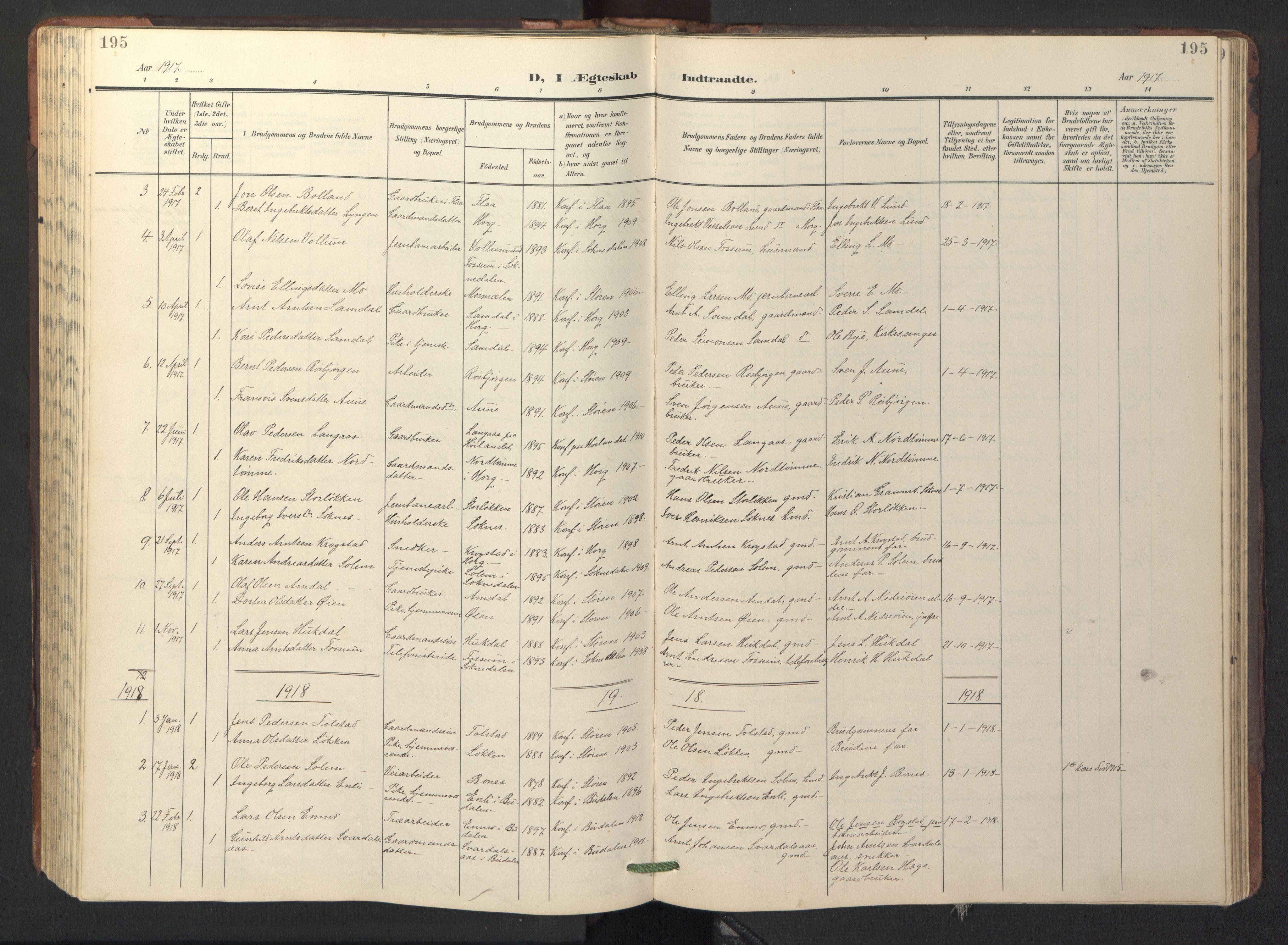 SAT, Ministerialprotokoller, klokkerbøker og fødselsregistre - Sør-Trøndelag, 687/L1019: Klokkerbok nr. 687C03, 1904-1931, s. 195