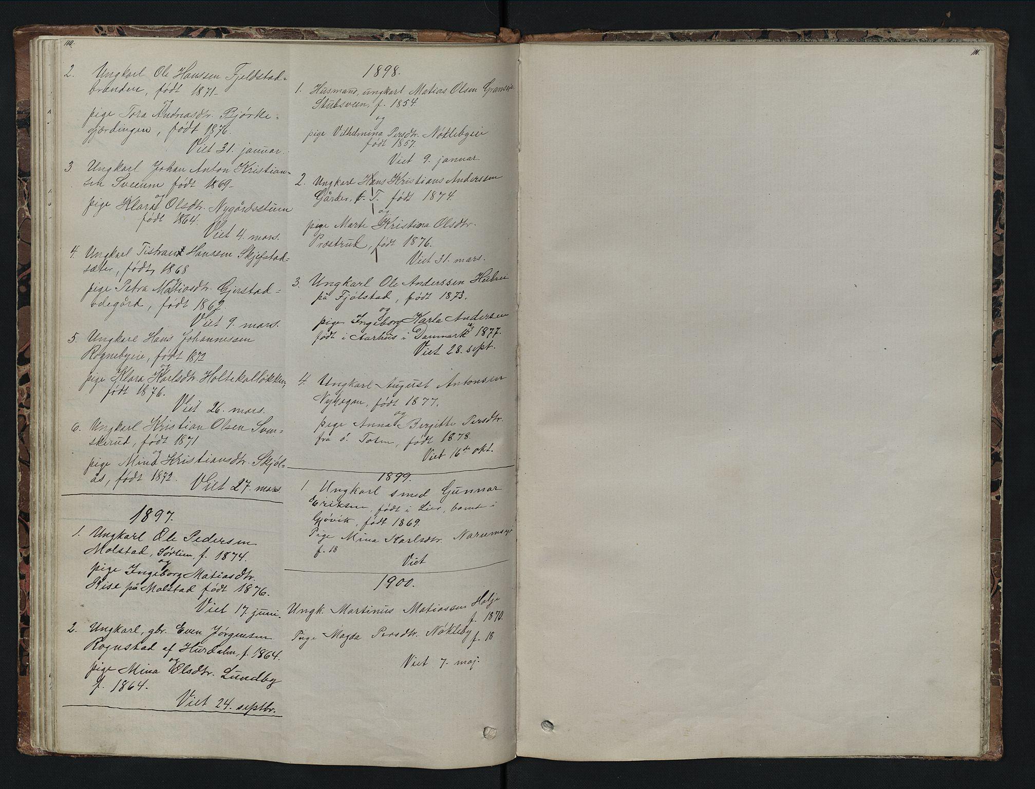 SAH, Vestre Toten prestekontor, Klokkerbok nr. 7, 1872-1900, s. 110-111