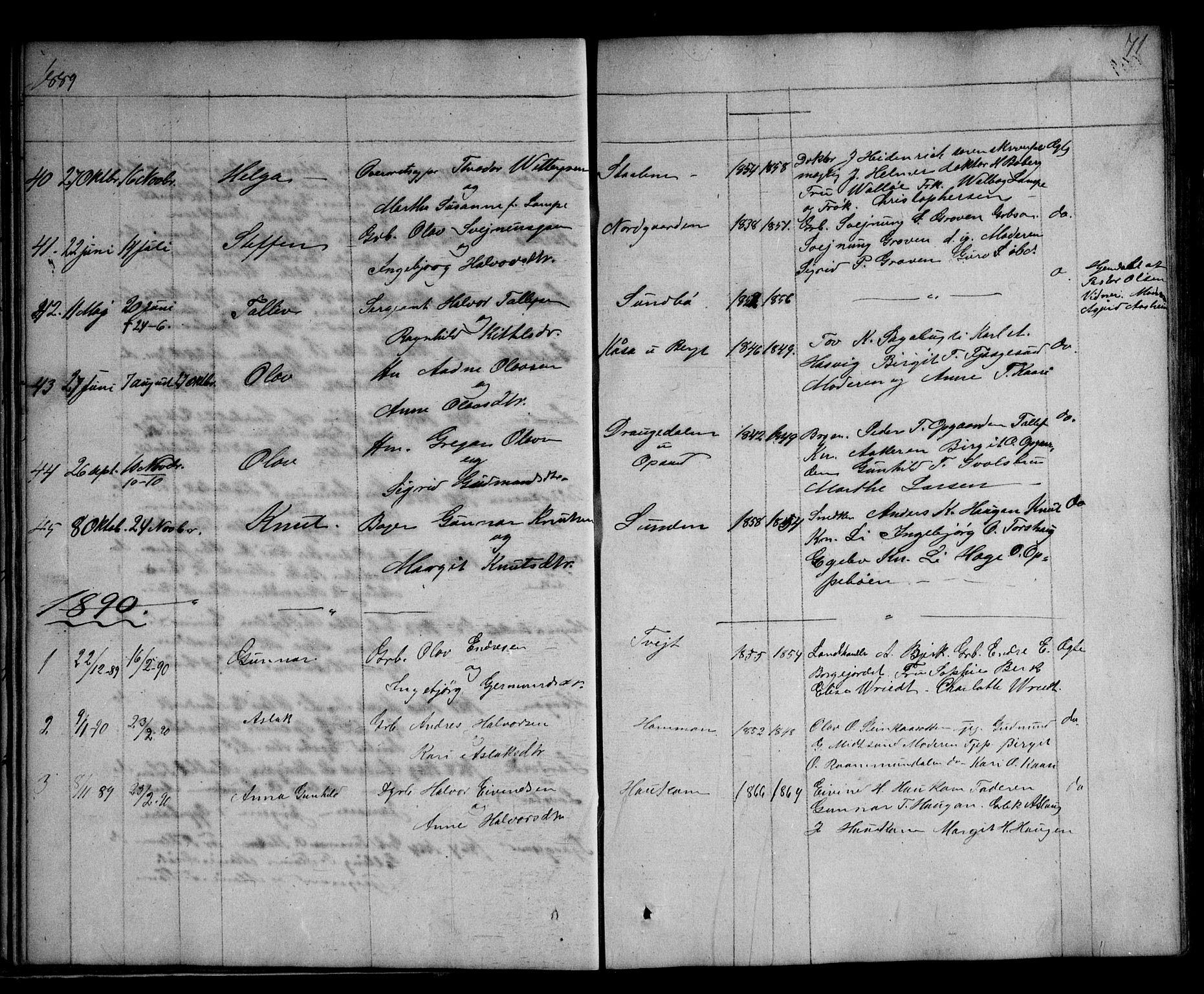SAKO, Kviteseid kirkebøker, G/Ga/L0001: Klokkerbok nr. I 1, 1850-1893, s. 71