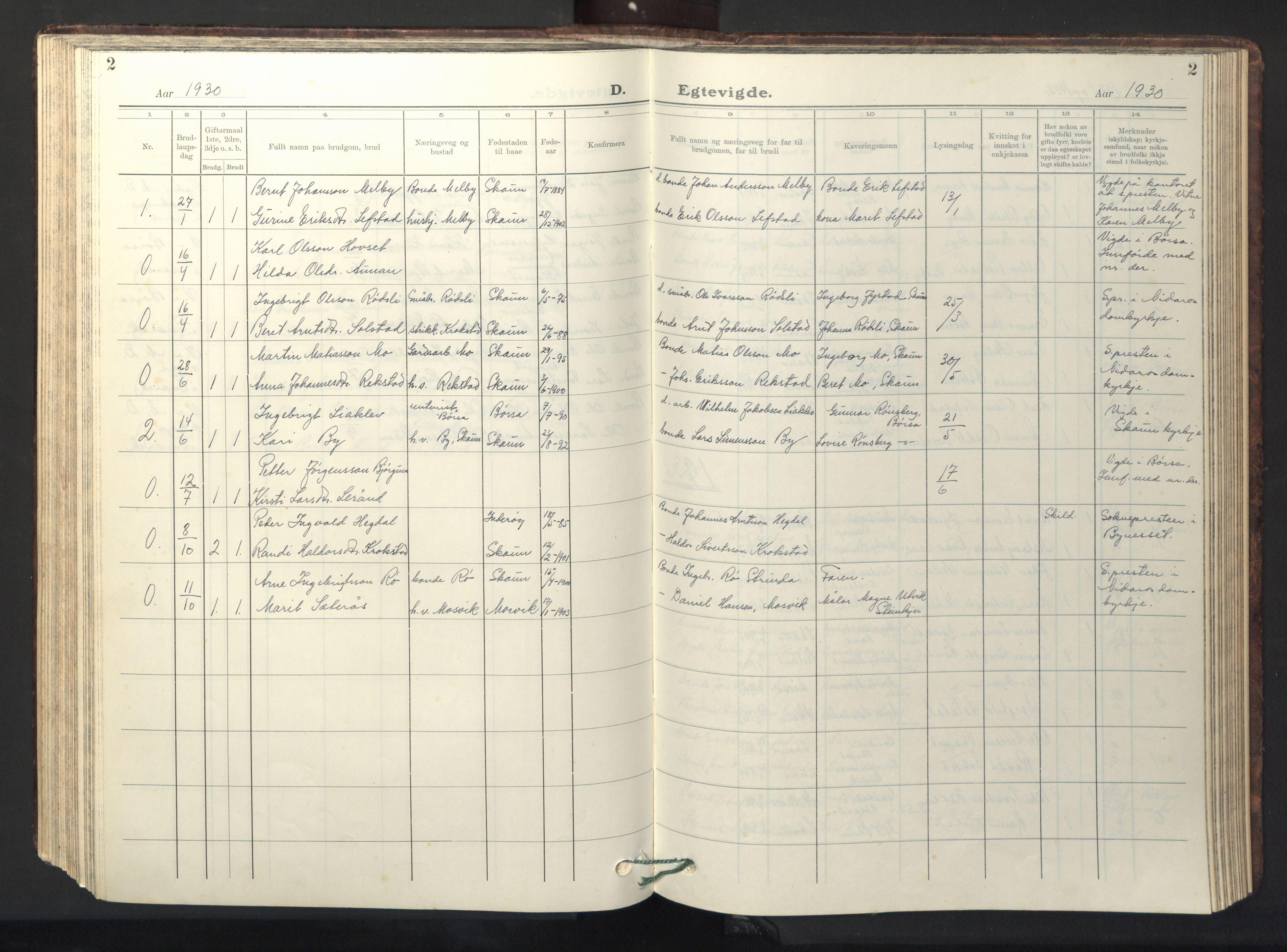 SAT, Ministerialprotokoller, klokkerbøker og fødselsregistre - Sør-Trøndelag, 667/L0799: Klokkerbok nr. 667C04, 1929-1950, s. 2