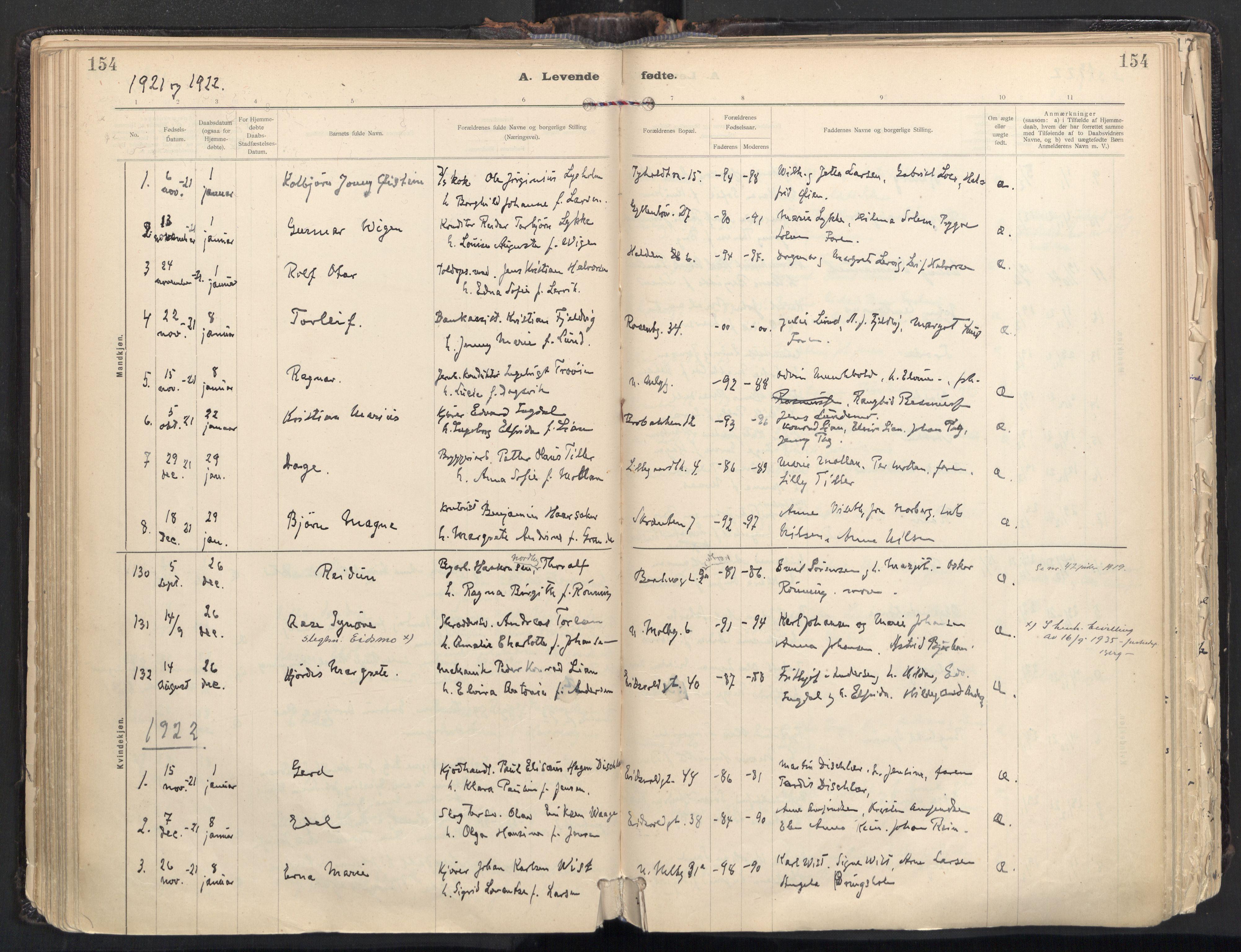 SAT, Ministerialprotokoller, klokkerbøker og fødselsregistre - Sør-Trøndelag, 604/L0205: Ministerialbok nr. 604A25, 1917-1932, s. 154