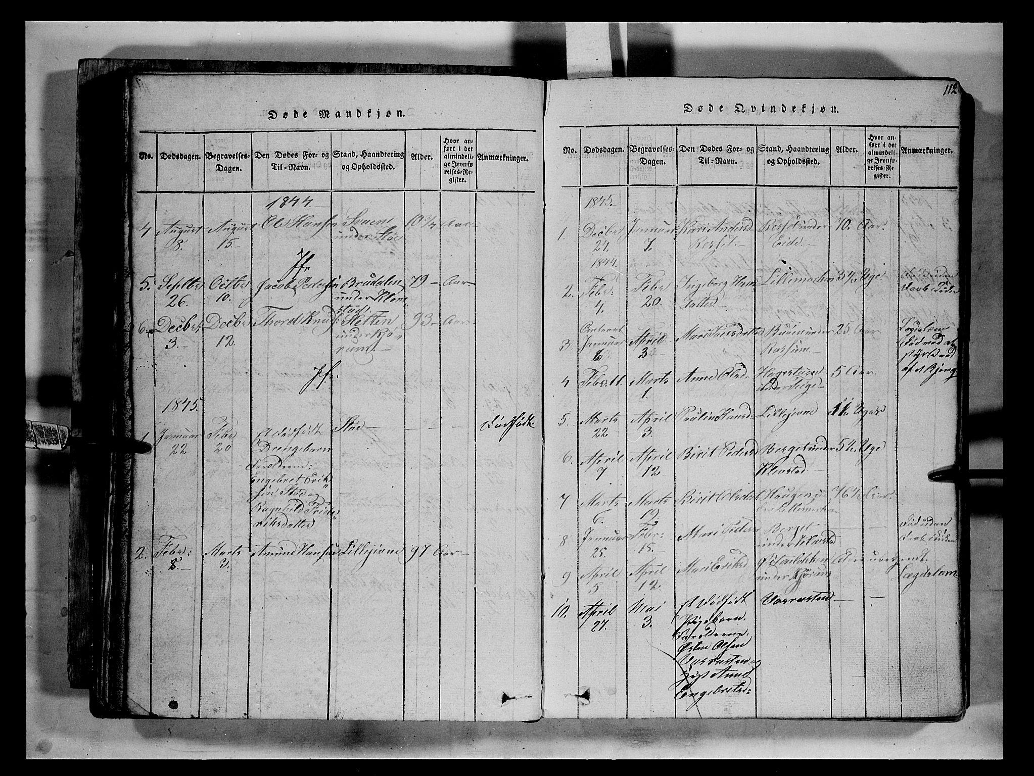 SAH, Fron prestekontor, H/Ha/Hab/L0002: Klokkerbok nr. 2, 1816-1850, s. 112