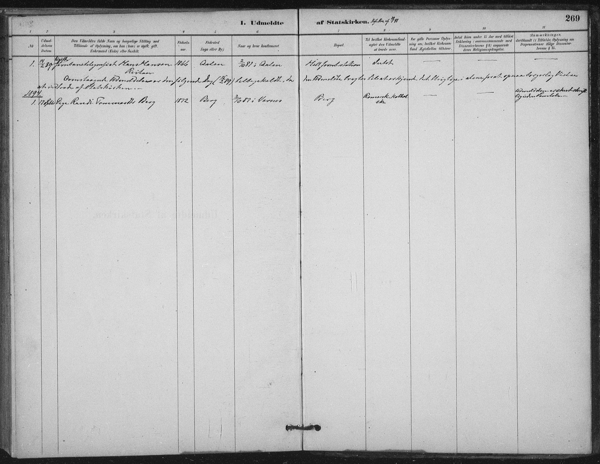 SAT, Ministerialprotokoller, klokkerbøker og fødselsregistre - Nord-Trøndelag, 710/L0095: Ministerialbok nr. 710A01, 1880-1914, s. 269