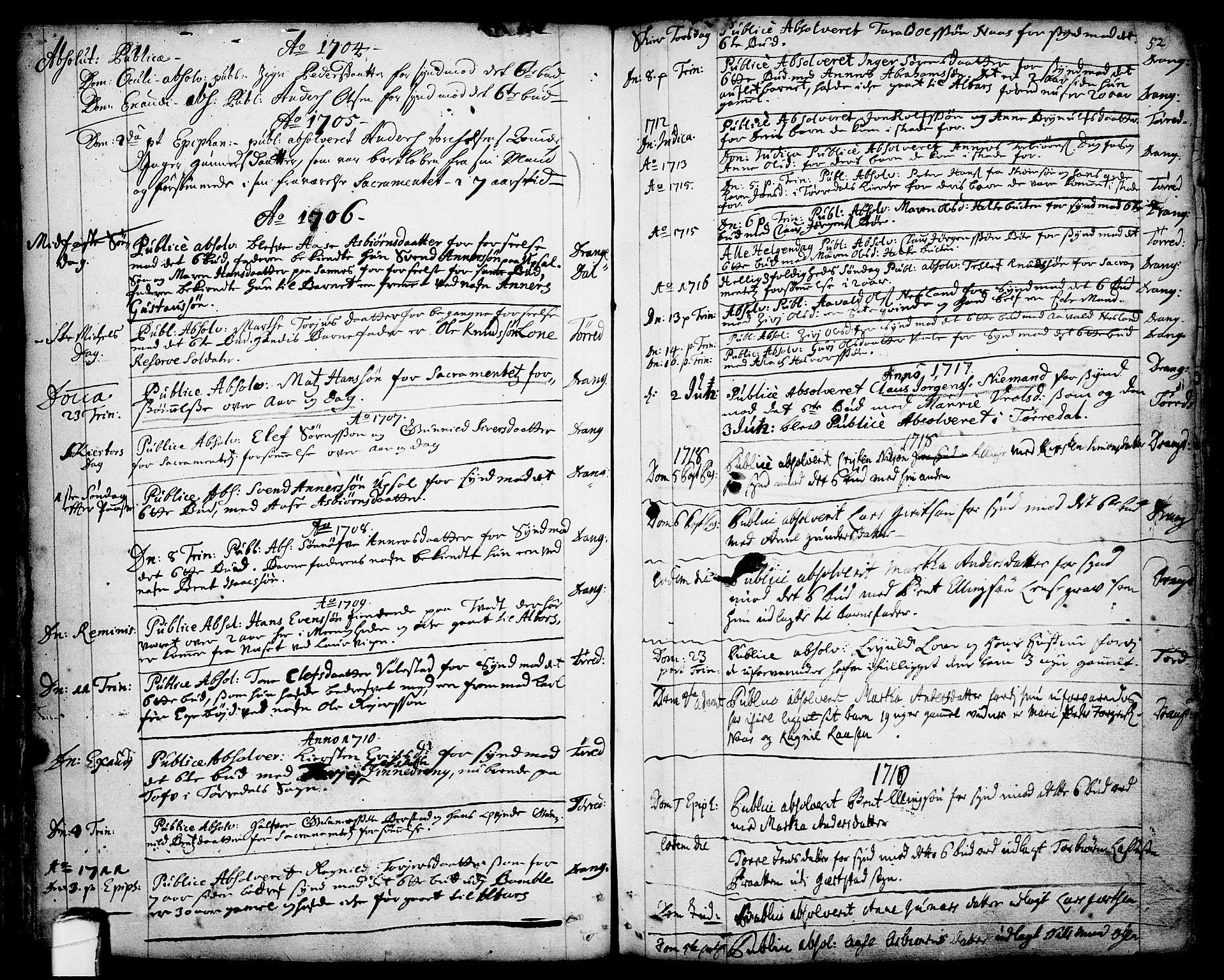 SAKO, Drangedal kirkebøker, F/Fa/L0001: Ministerialbok nr. 1, 1697-1767, s. 52