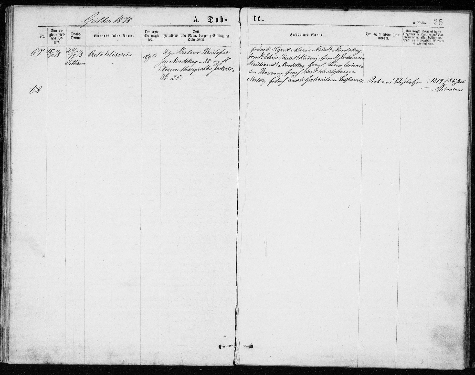 SAT, Ministerialprotokoller, klokkerbøker og fødselsregistre - Sør-Trøndelag, 640/L0577: Ministerialbok nr. 640A02, 1877-1878, s. 25