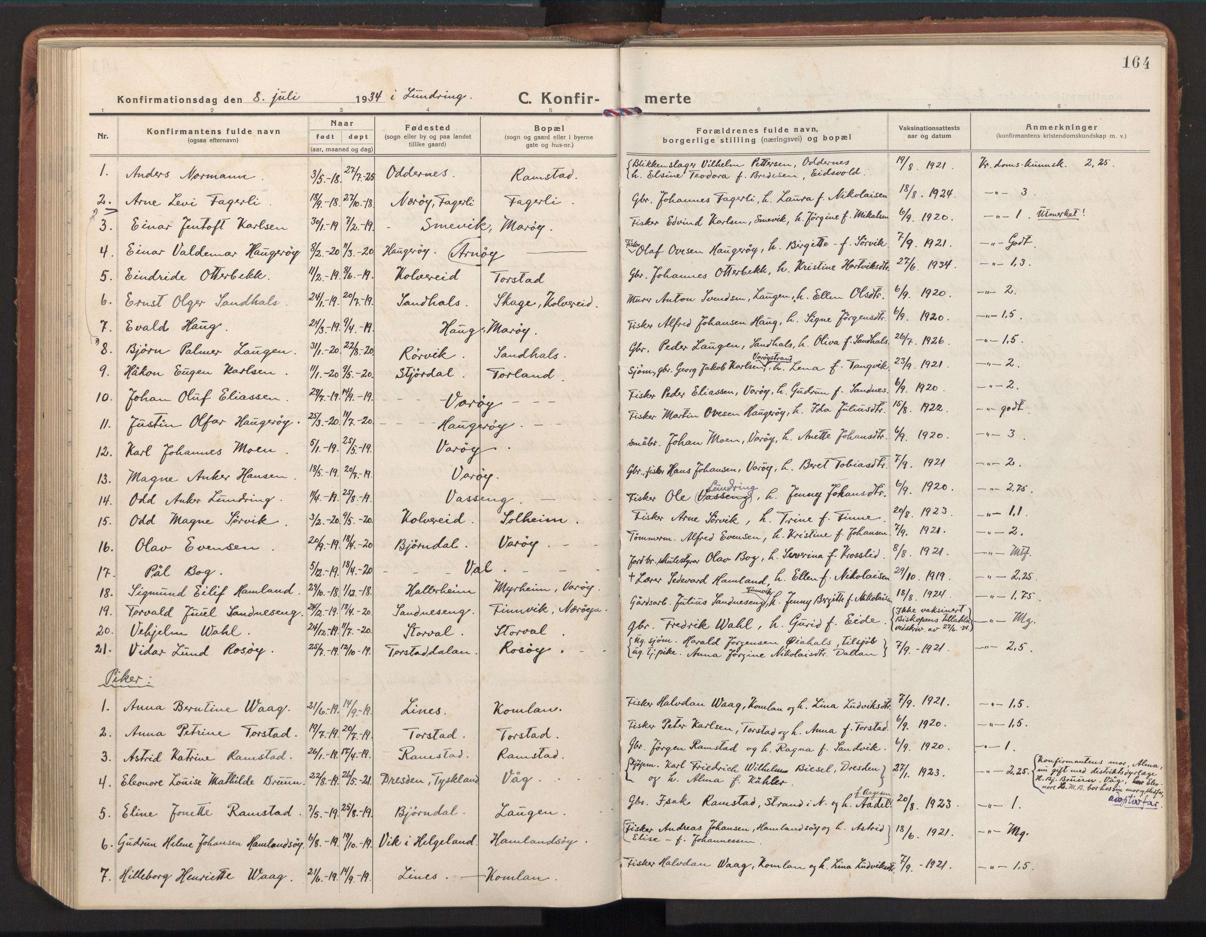 SAT, Ministerialprotokoller, klokkerbøker og fødselsregistre - Nord-Trøndelag, 784/L0678: Ministerialbok nr. 784A13, 1921-1938, s. 164