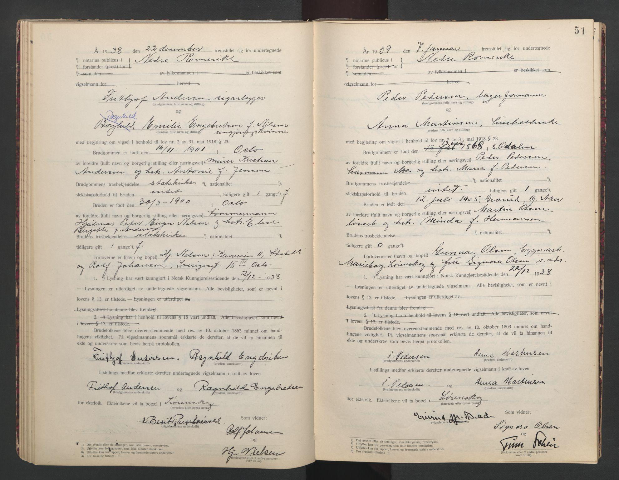 SAO, Nedre Romerike sorenskriveri, L/Lb/L0002: Vigselsbok - borgerlige vielser, 1935-1942, s. 51