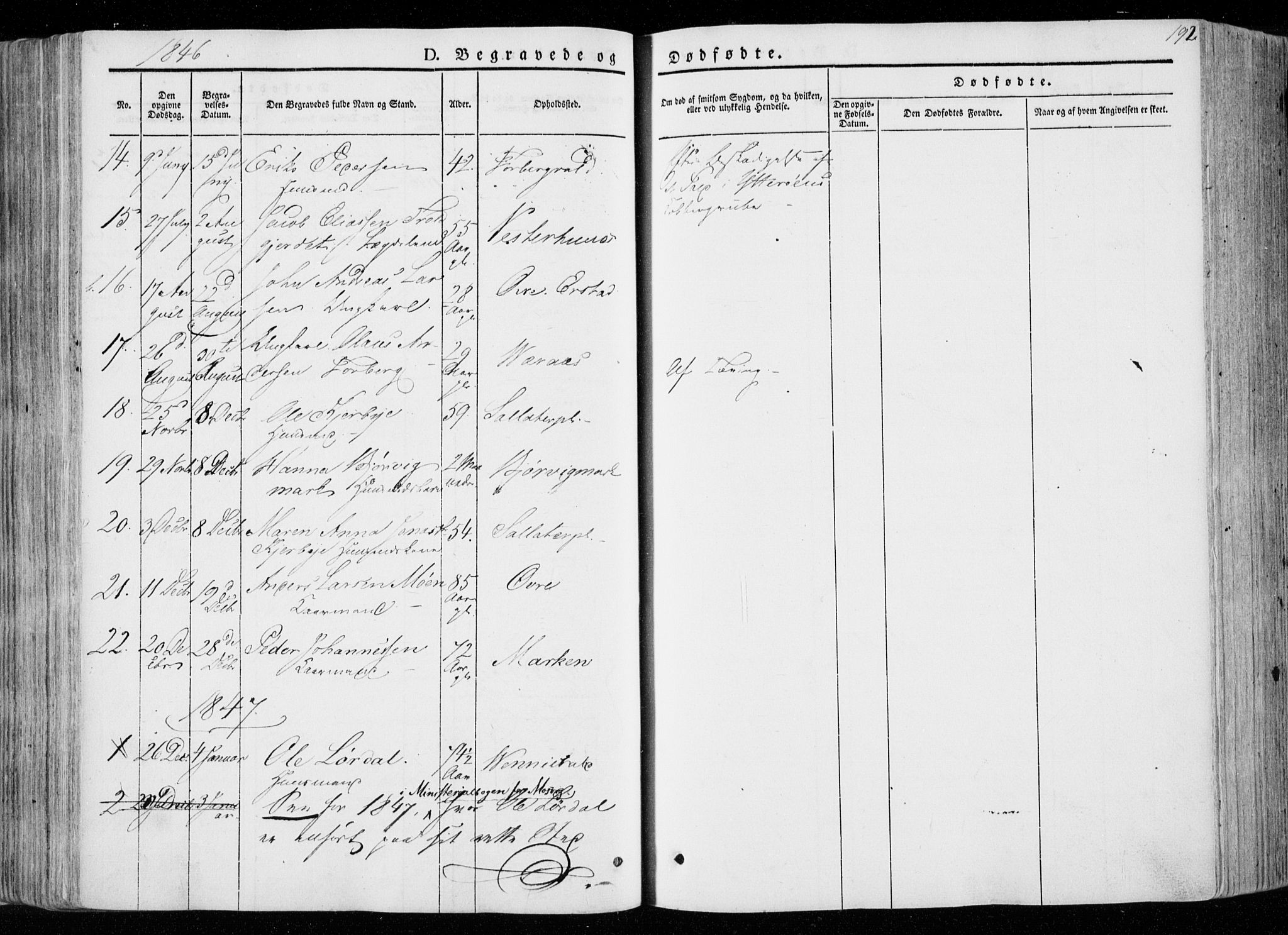 SAT, Ministerialprotokoller, klokkerbøker og fødselsregistre - Nord-Trøndelag, 722/L0218: Ministerialbok nr. 722A05, 1843-1868, s. 192