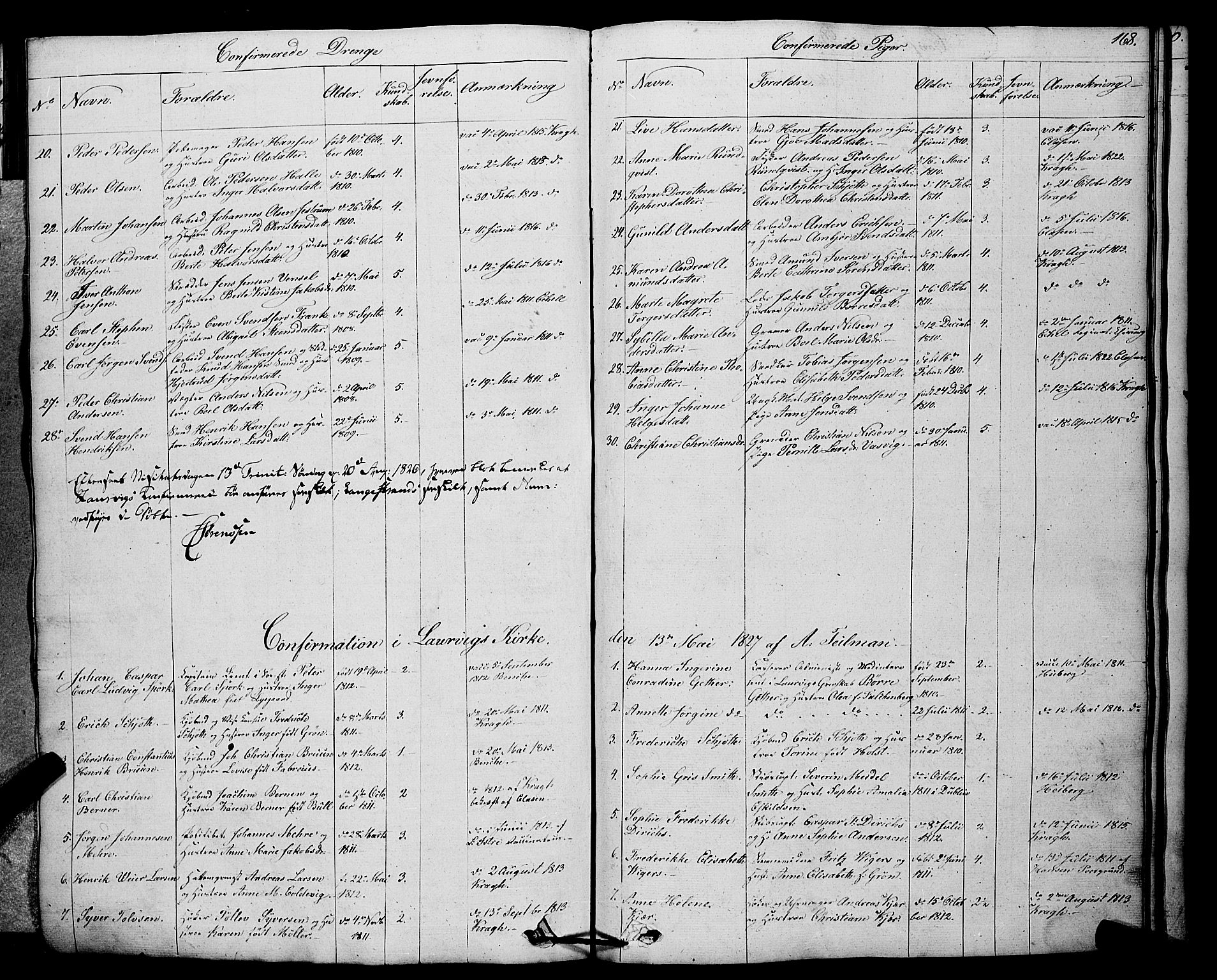 SAKO, Larvik kirkebøker, F/Fa/L0002: Ministerialbok nr. I 2, 1825-1847, s. 168