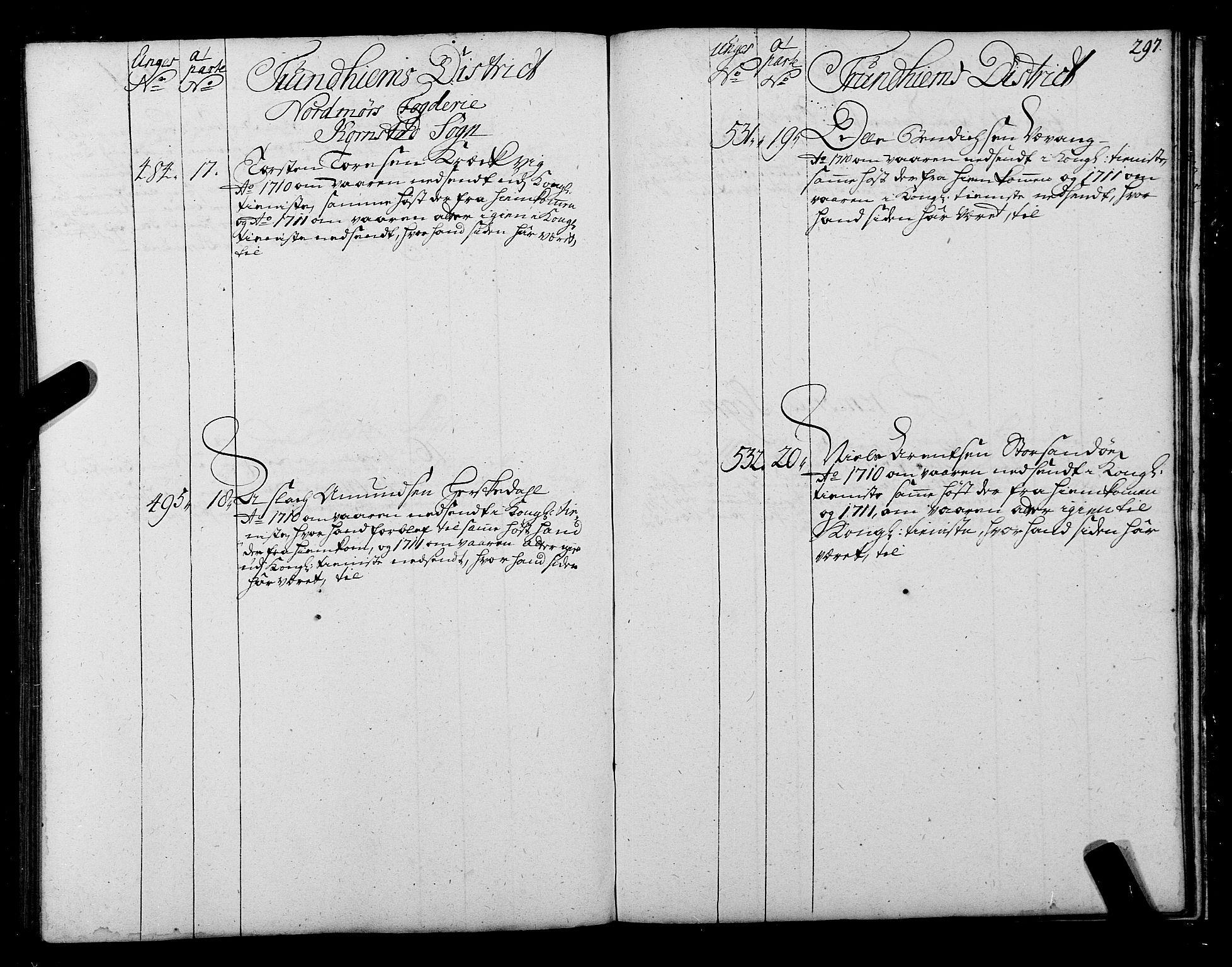 SAT, Sjøinnrulleringen - Trondhjemske distrikt, 01/L0004: Ruller over sjøfolk i Trondhjem by, 1704-1710, s. 297