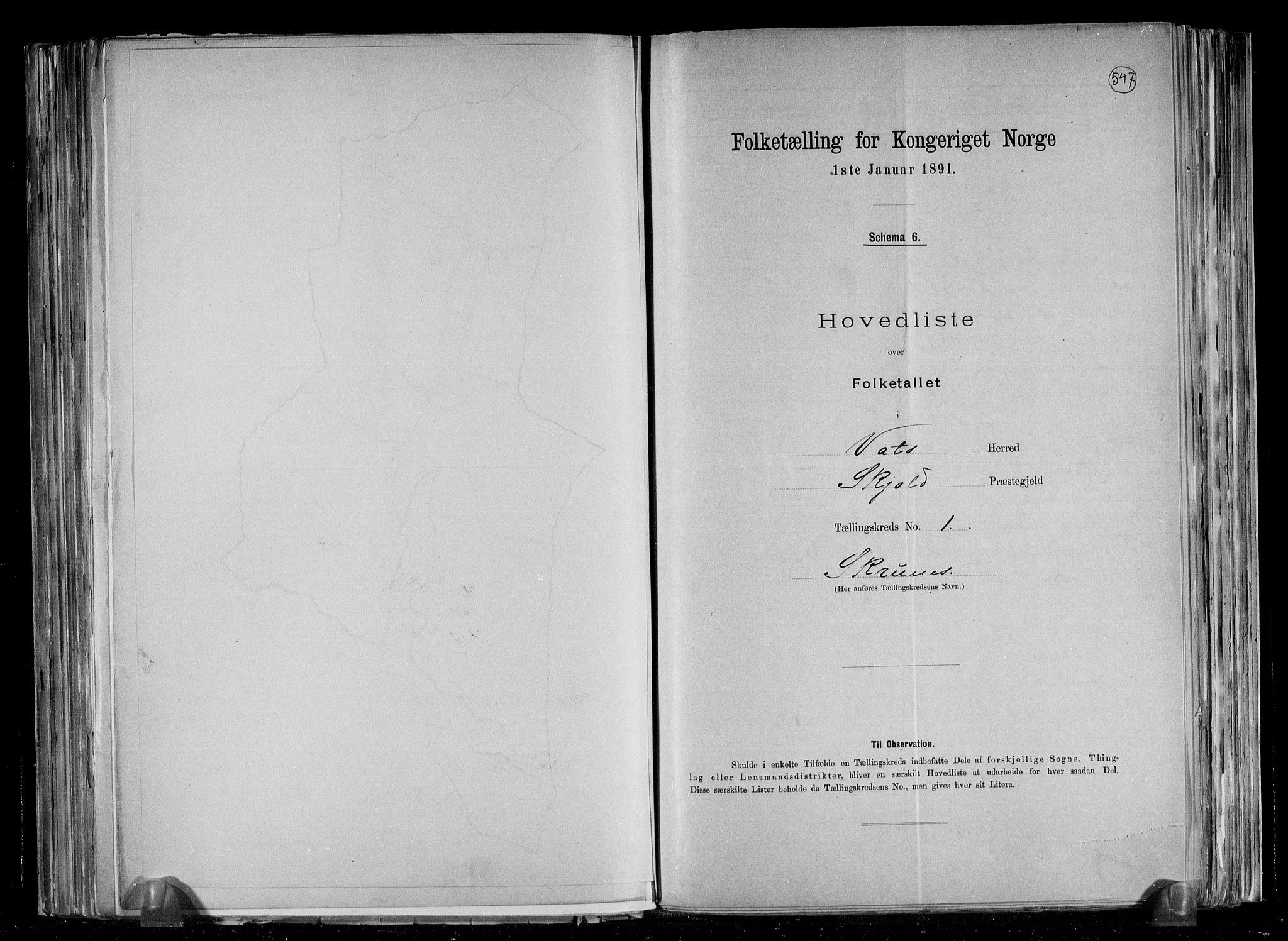 RA, Folketelling 1891 for 1155 Vats herred, 1891, s. 5