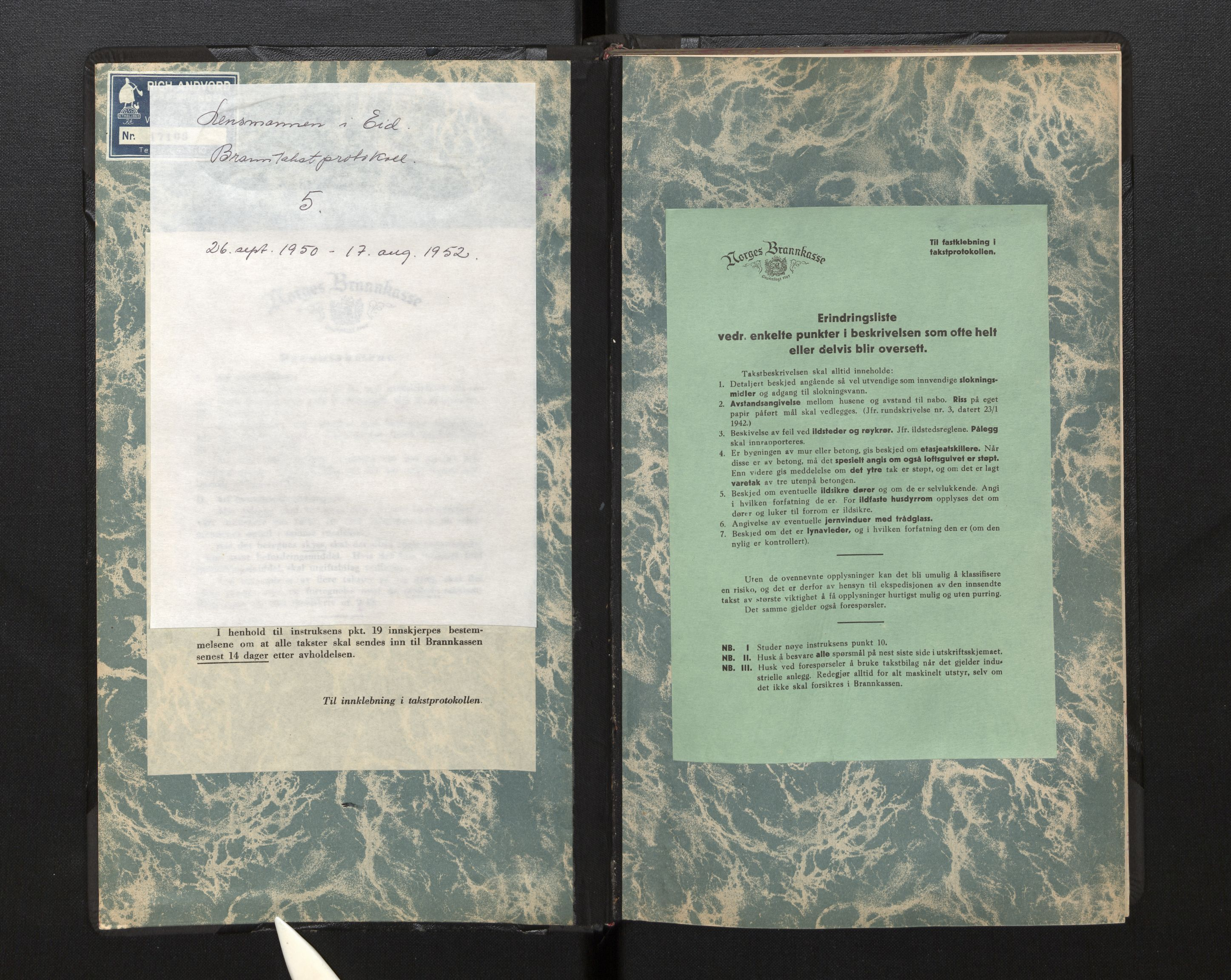 SAB, Lensmannen i Eid, 0012/L0005: Branntakstprotokoll, 1950-1952
