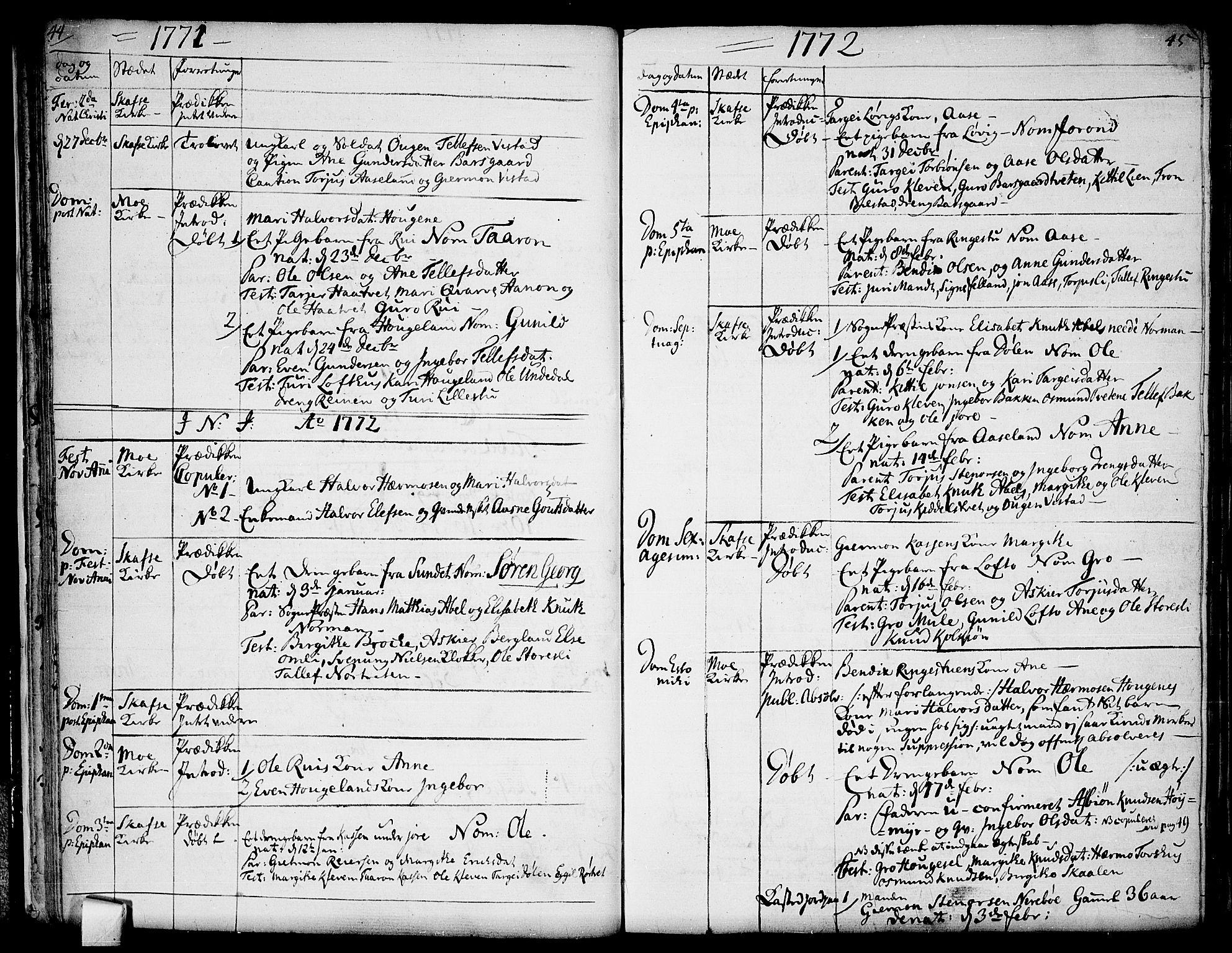 SAKO, Mo kirkebøker, F/Fa/L0002: Ministerialbok nr. I 2, 1766-1799, s. 44-45