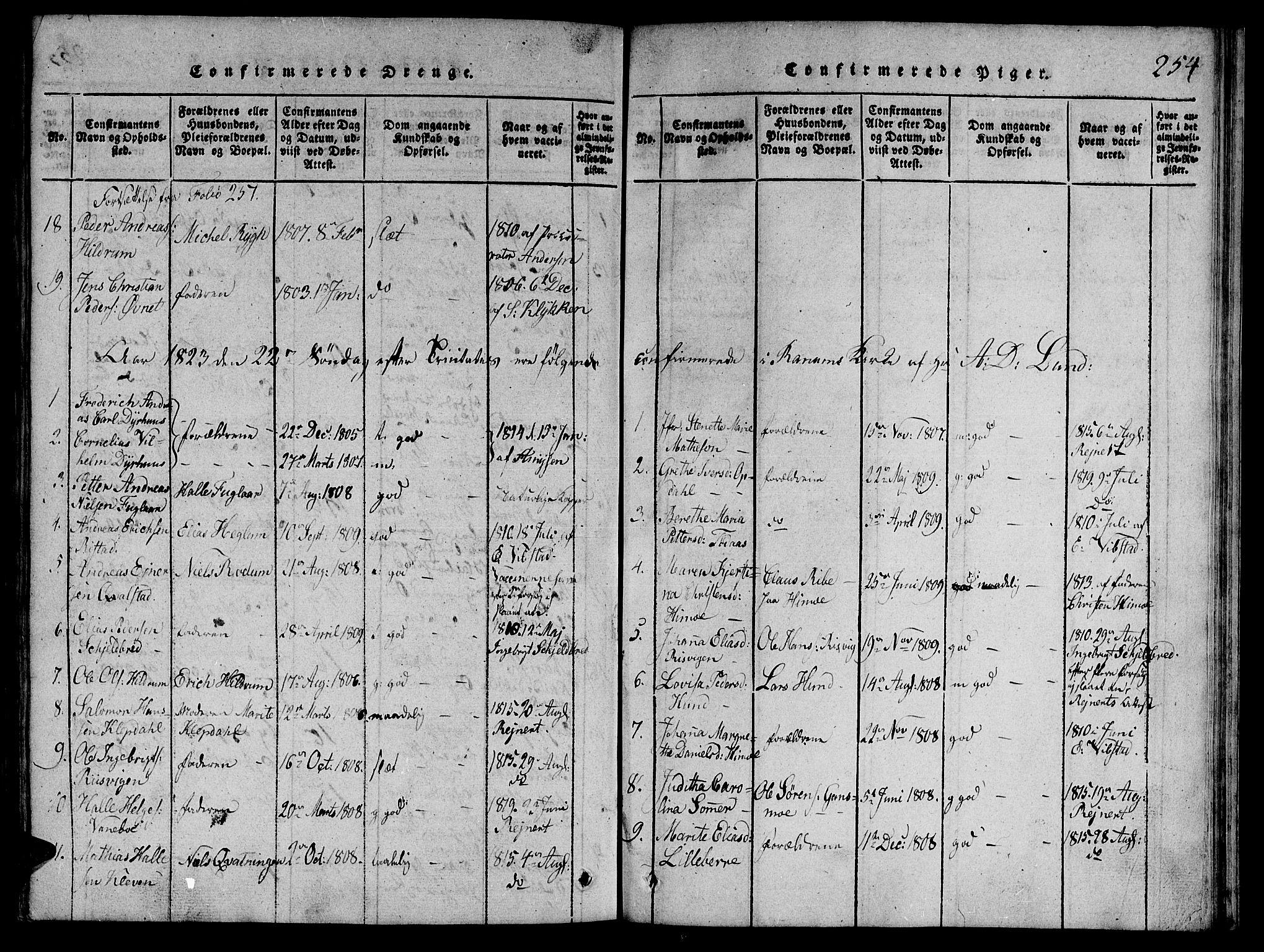 SAT, Ministerialprotokoller, klokkerbøker og fødselsregistre - Nord-Trøndelag, 764/L0546: Ministerialbok nr. 764A06 /1, 1816-1823, s. 254