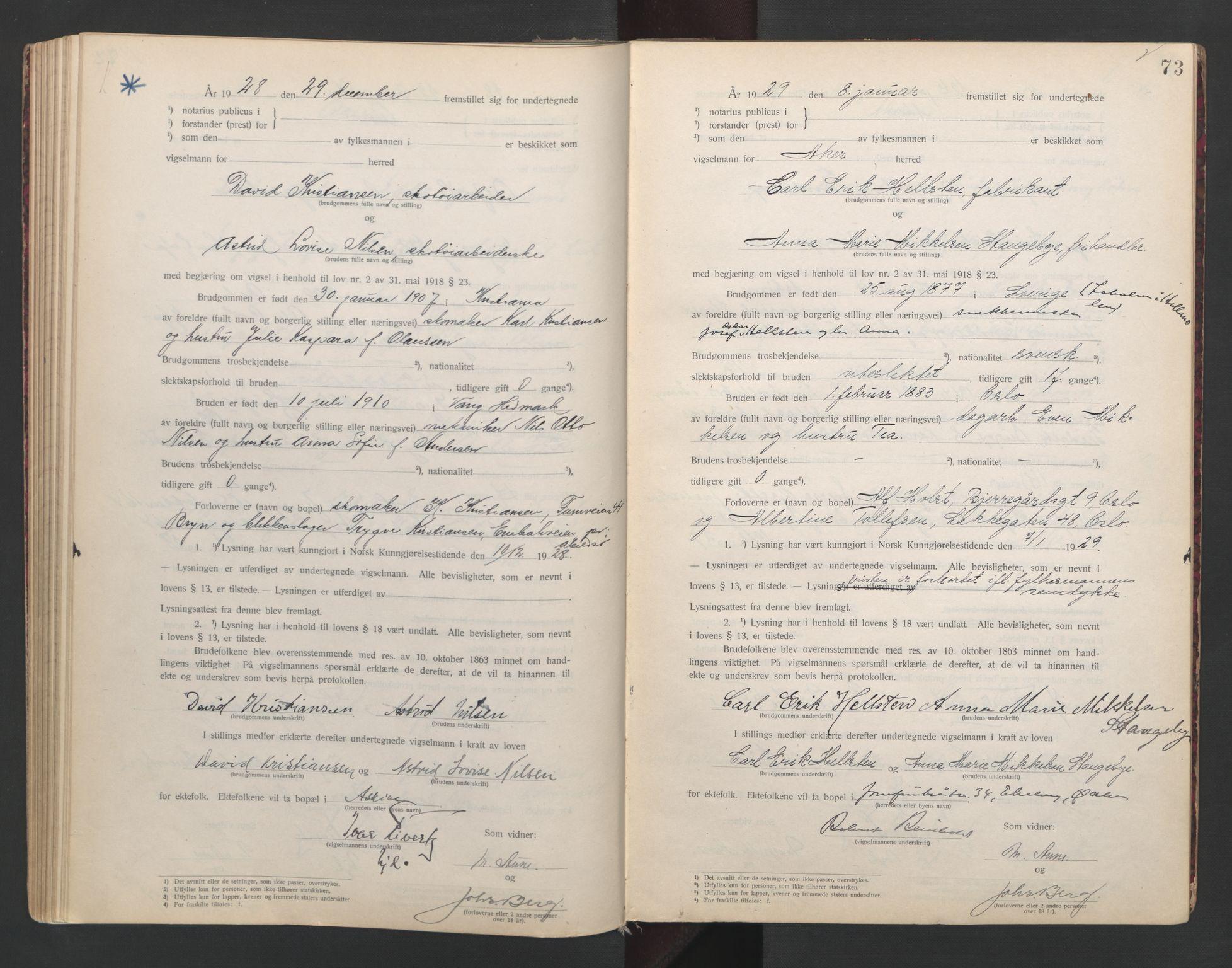 SAO, Aker sorenskriveri, L/Lc/Lcb/L0004: Vigselprotokoll, 1927-1929, s. 73