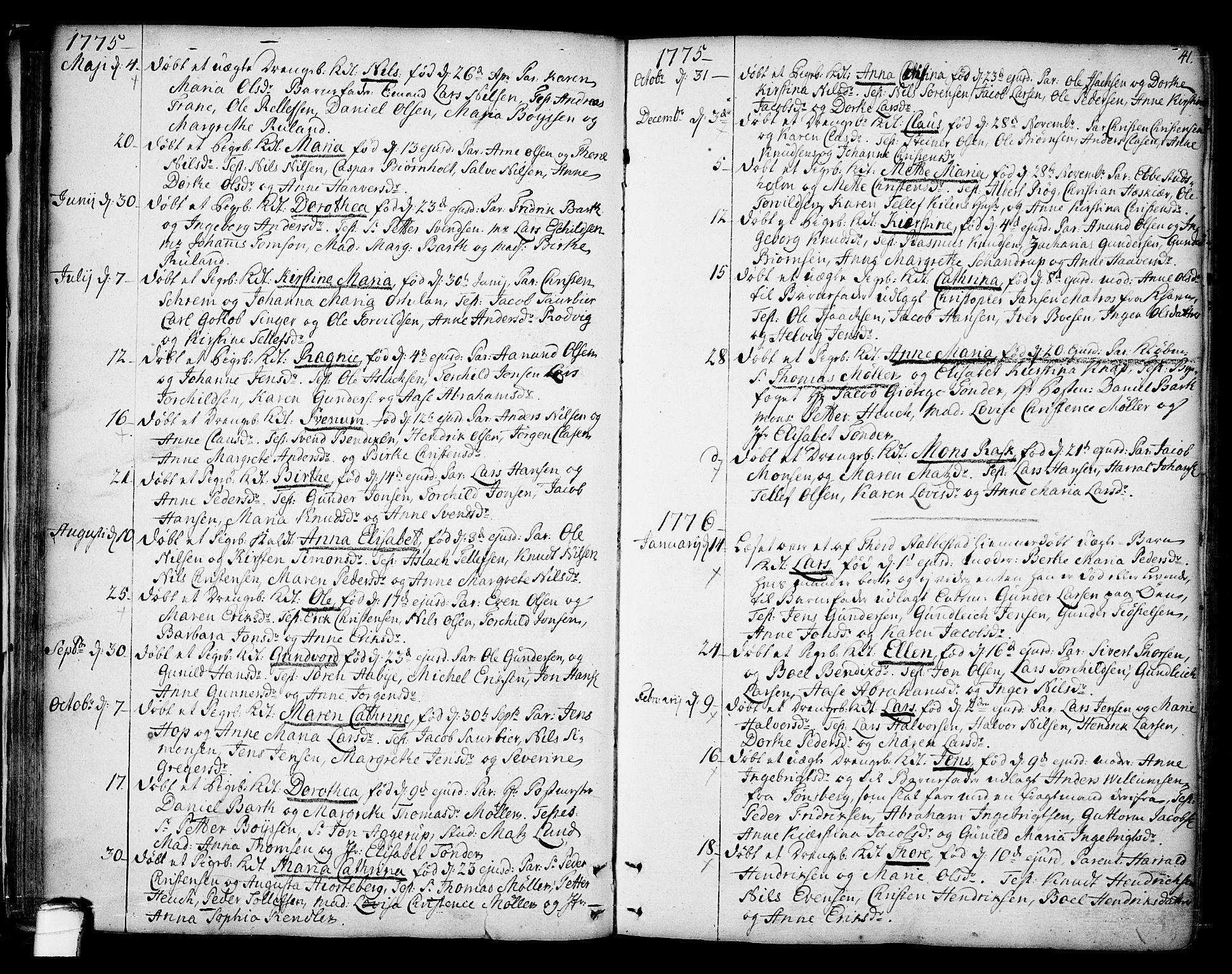 SAKO, Kragerø kirkebøker, F/Fa/L0002: Ministerialbok nr. 2, 1767-1802, s. 41