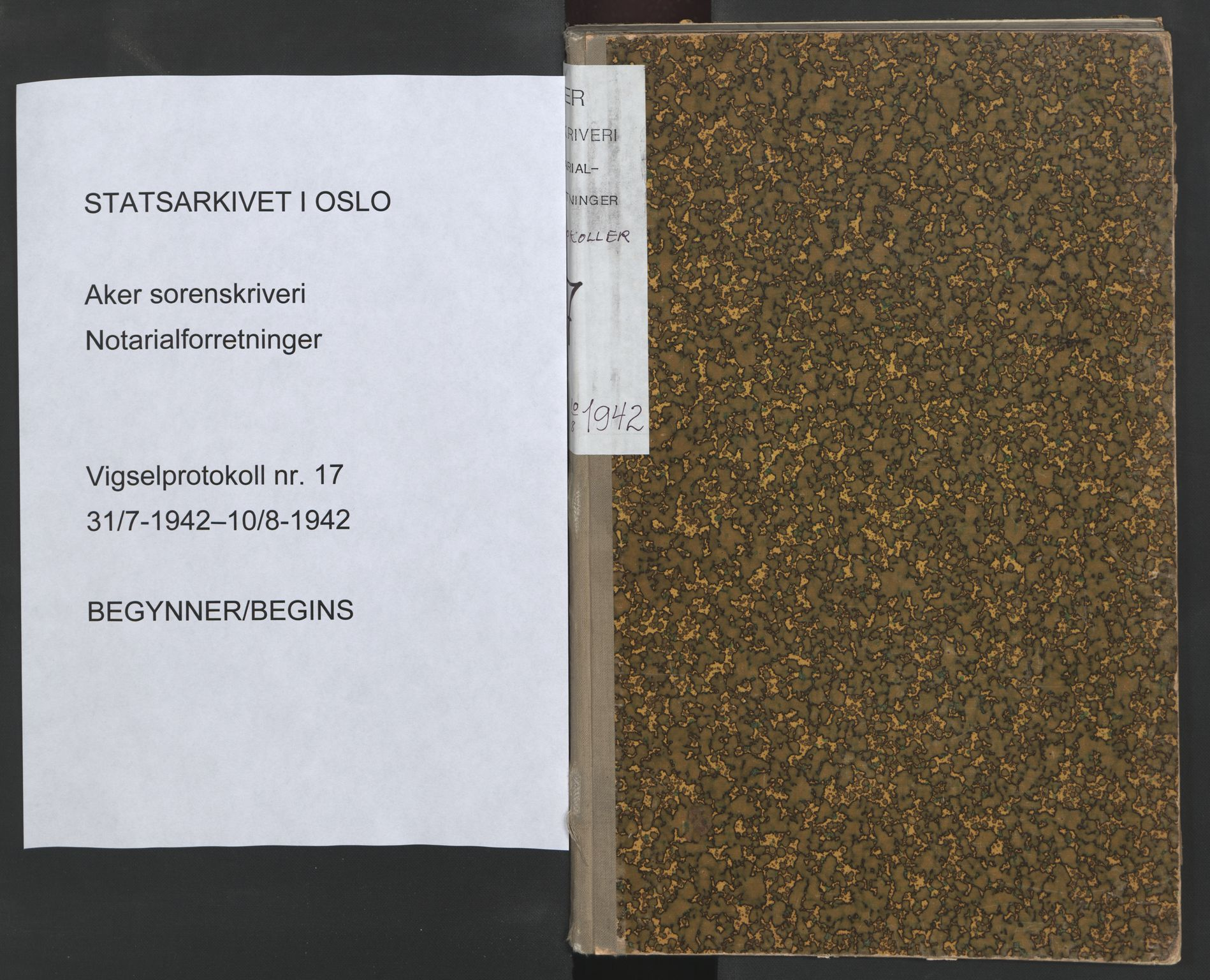 SAO, Aker sorenskriveri, L/Lc/Lcb/L0017: Vigselprotokoll, 1942, s. upaginert