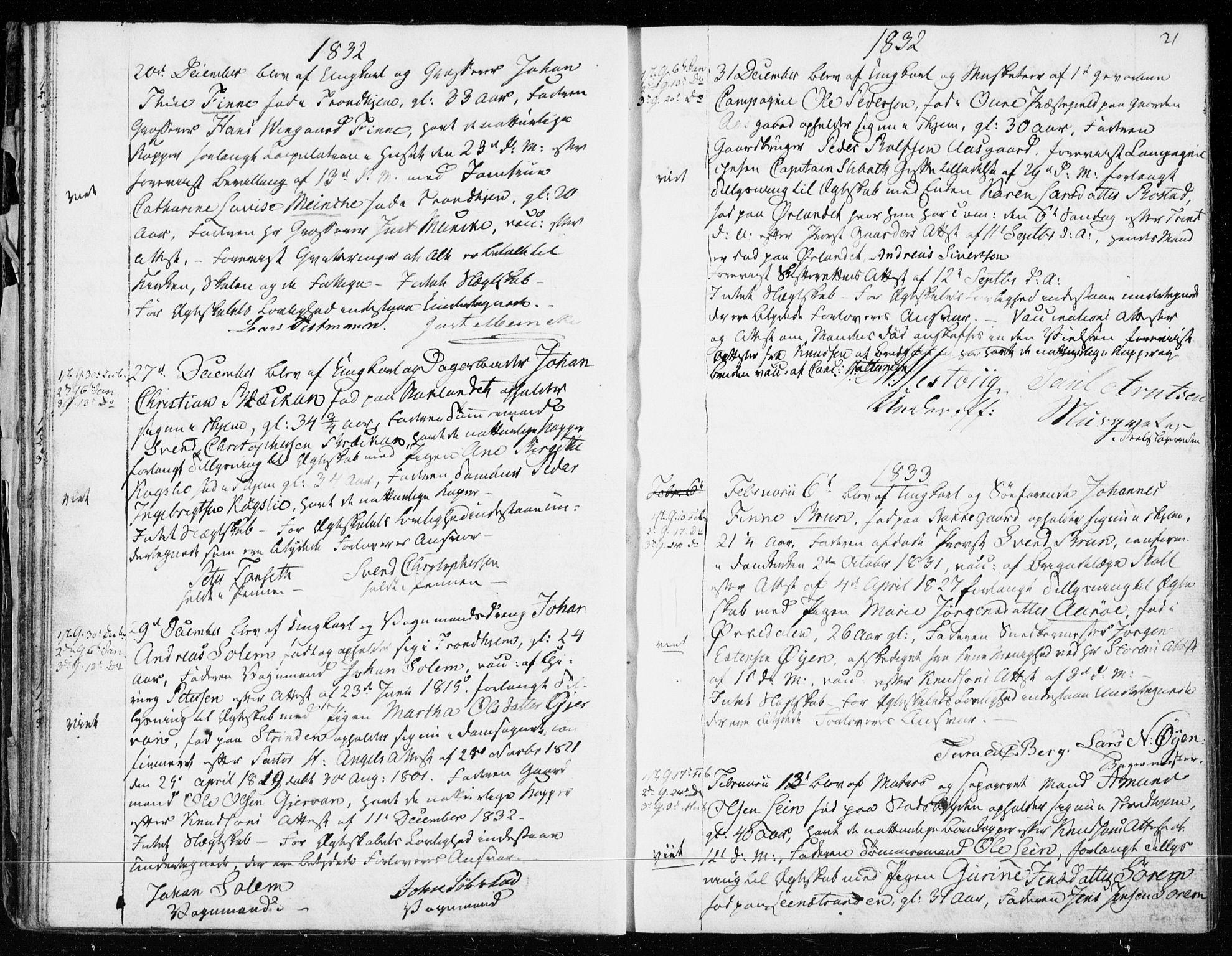 SAT, Ministerialprotokoller, klokkerbøker og fødselsregistre - Sør-Trøndelag, 601/L0046: Ministerialbok nr. 601A14, 1830-1841, s. 21