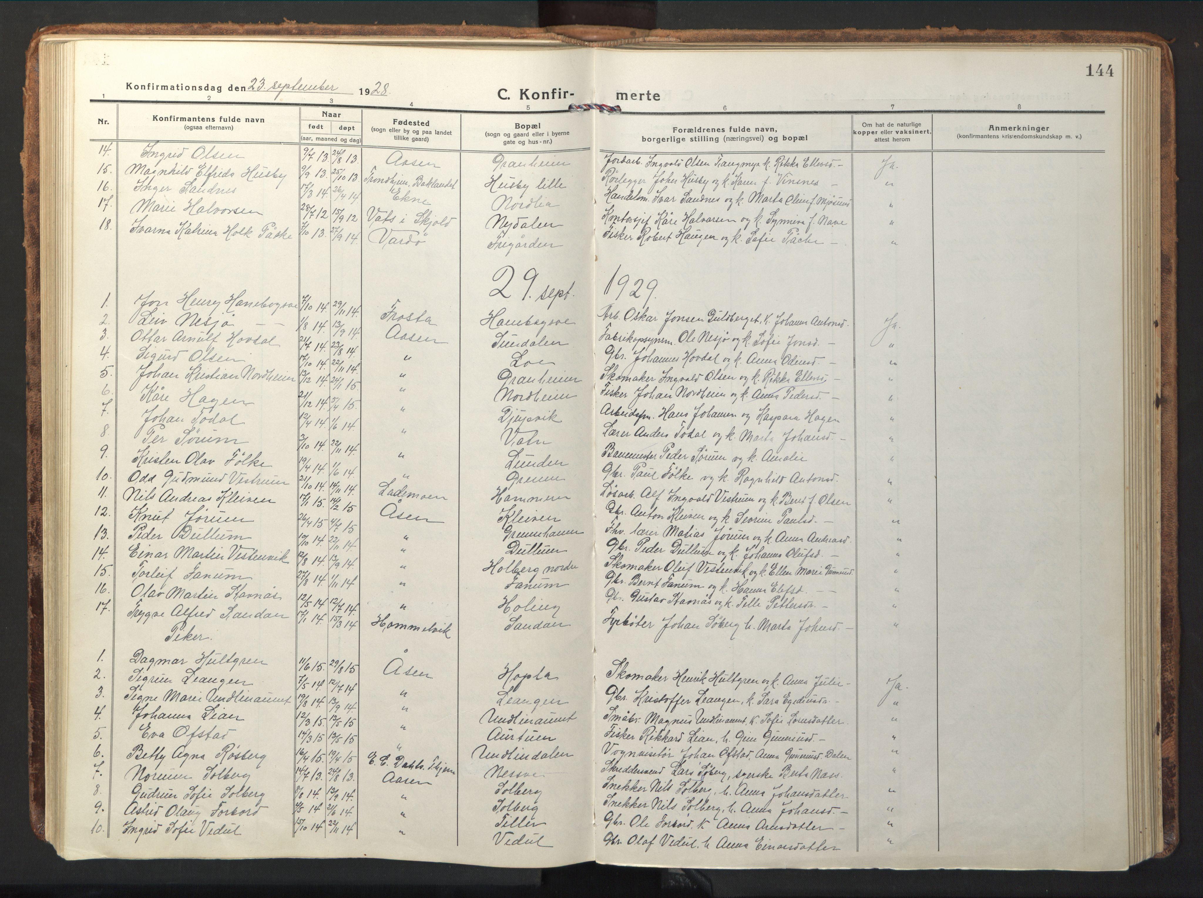 SAT, Ministerialprotokoller, klokkerbøker og fødselsregistre - Nord-Trøndelag, 714/L0136: Klokkerbok nr. 714C05, 1918-1957, s. 144