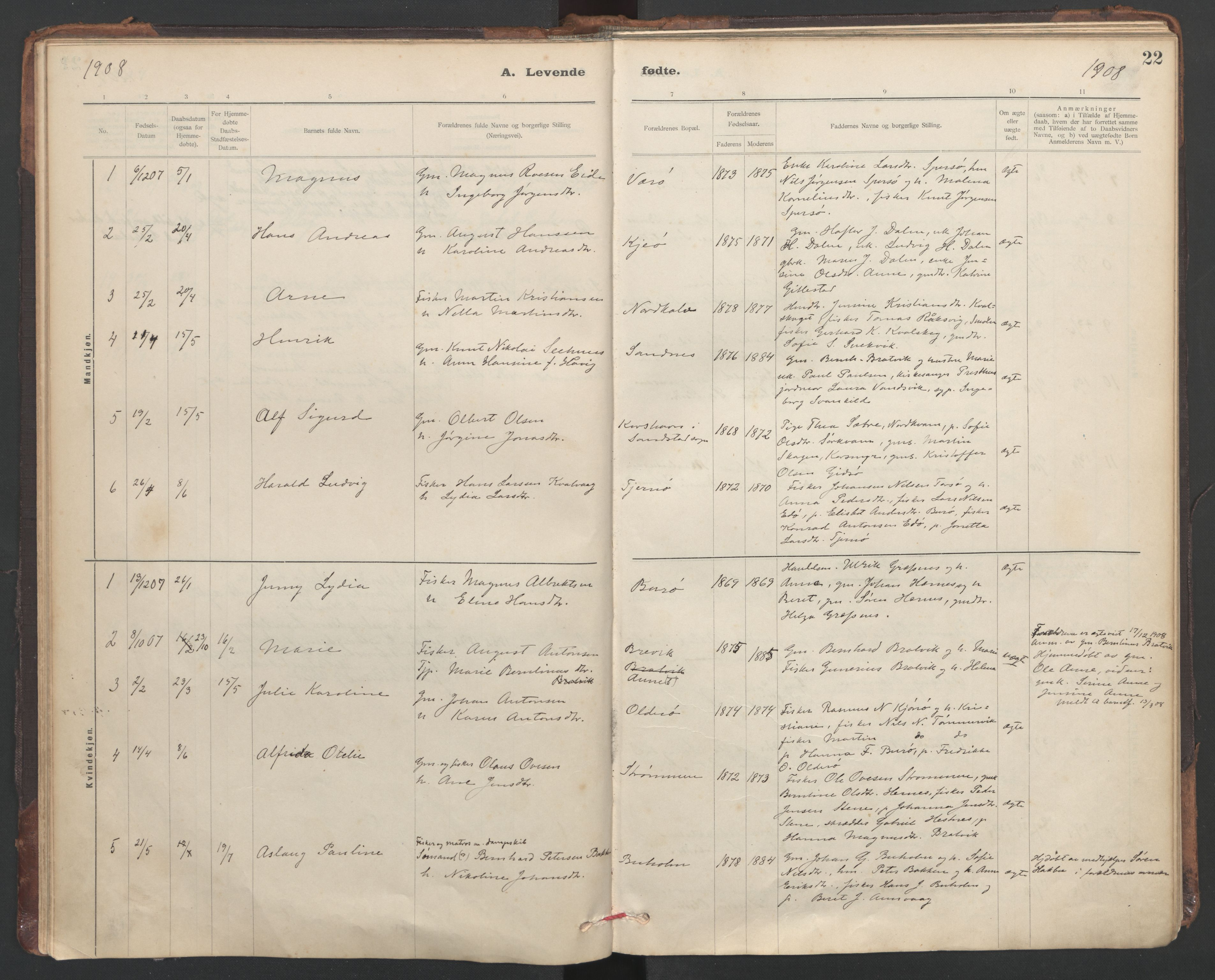 SAT, Ministerialprotokoller, klokkerbøker og fødselsregistre - Sør-Trøndelag, 635/L0552: Ministerialbok nr. 635A02, 1899-1919, s. 22