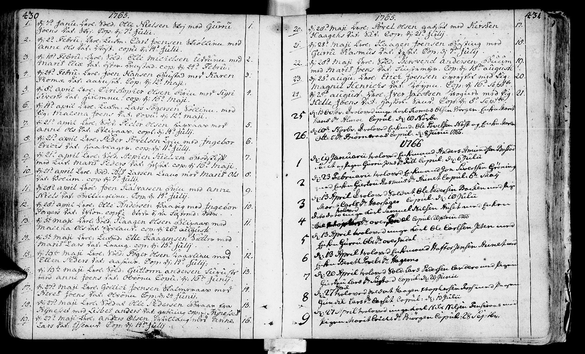 SAT, Ministerialprotokoller, klokkerbøker og fødselsregistre - Sør-Trøndelag, 646/L0605: Ministerialbok nr. 646A03, 1751-1790, s. 430-431