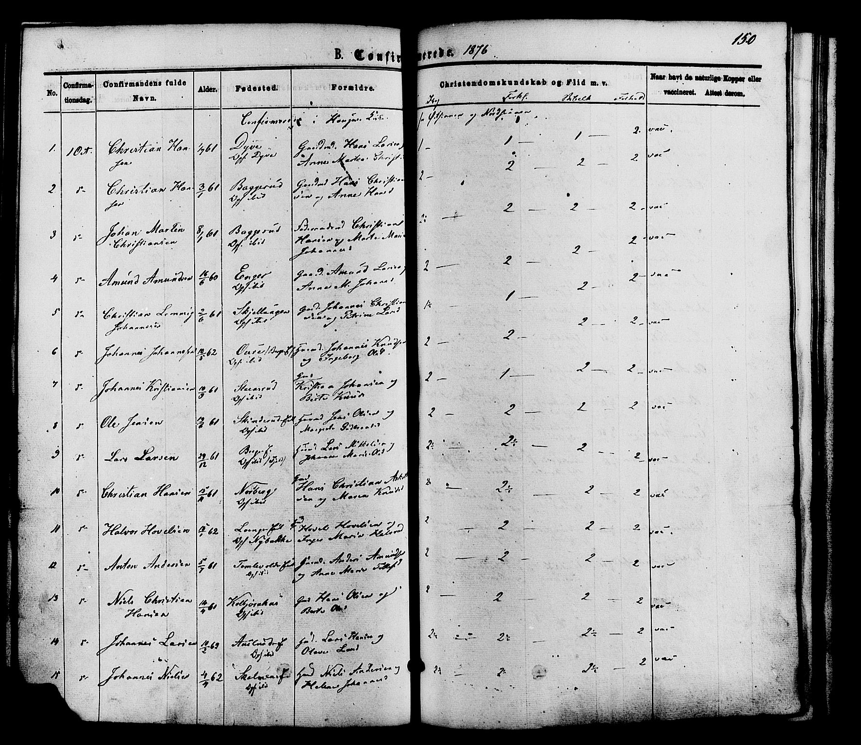 SAH, Nordre Land prestekontor, Ministerialbok nr. 2, 1872-1881, s. 150