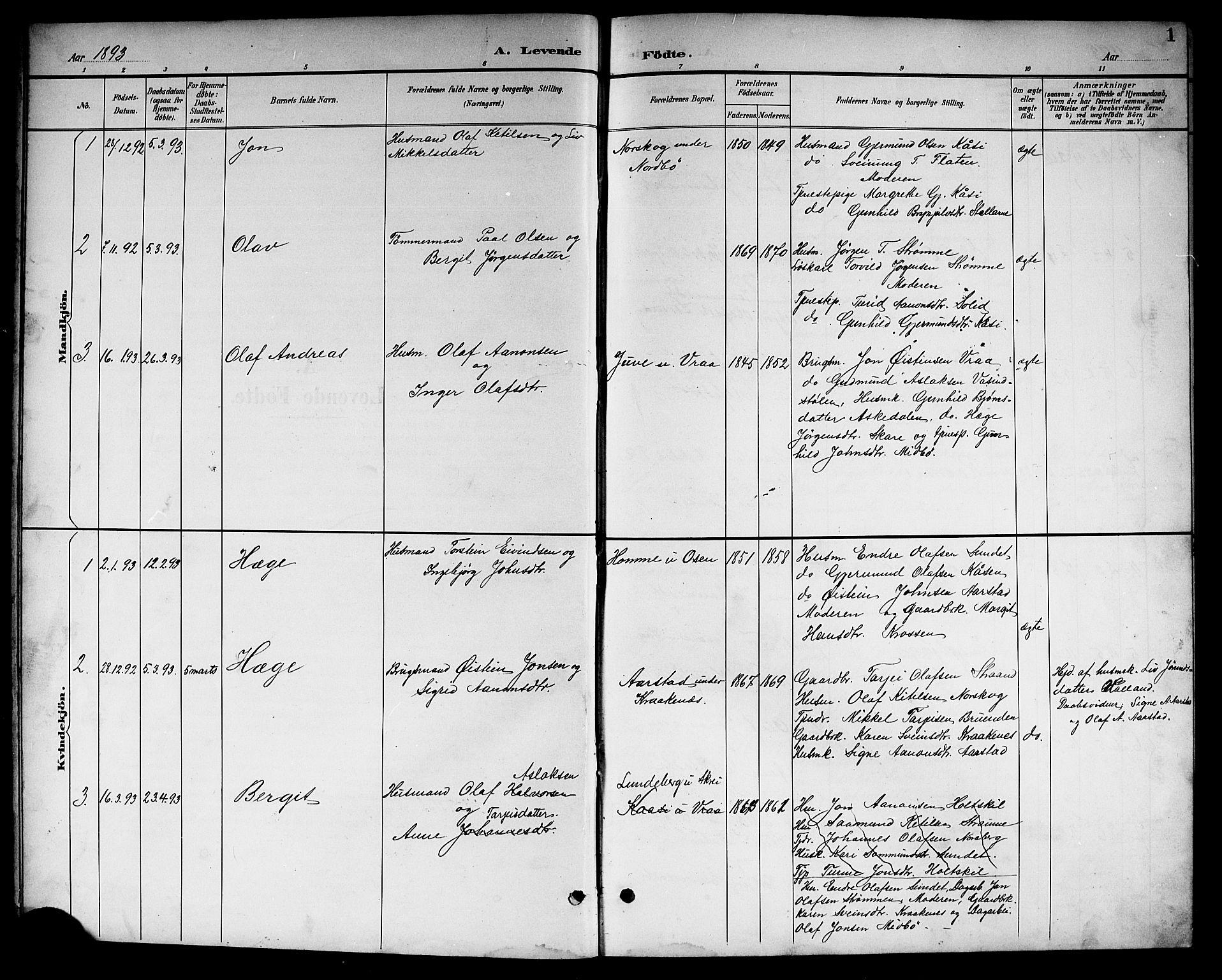 SAKO, Kviteseid kirkebøker, G/Gc/L0001: Klokkerbok nr. III 1, 1893-1916, s. 1