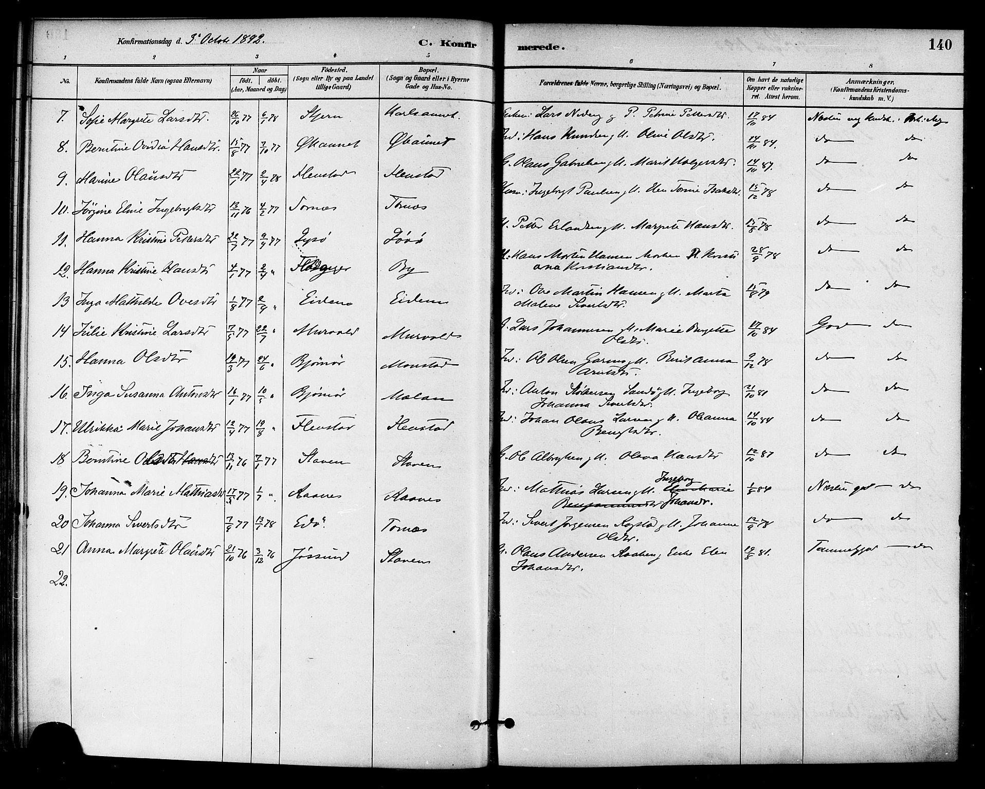 SAT, Ministerialprotokoller, klokkerbøker og fødselsregistre - Sør-Trøndelag, 655/L0680: Ministerialbok nr. 655A09, 1880-1894, s. 140