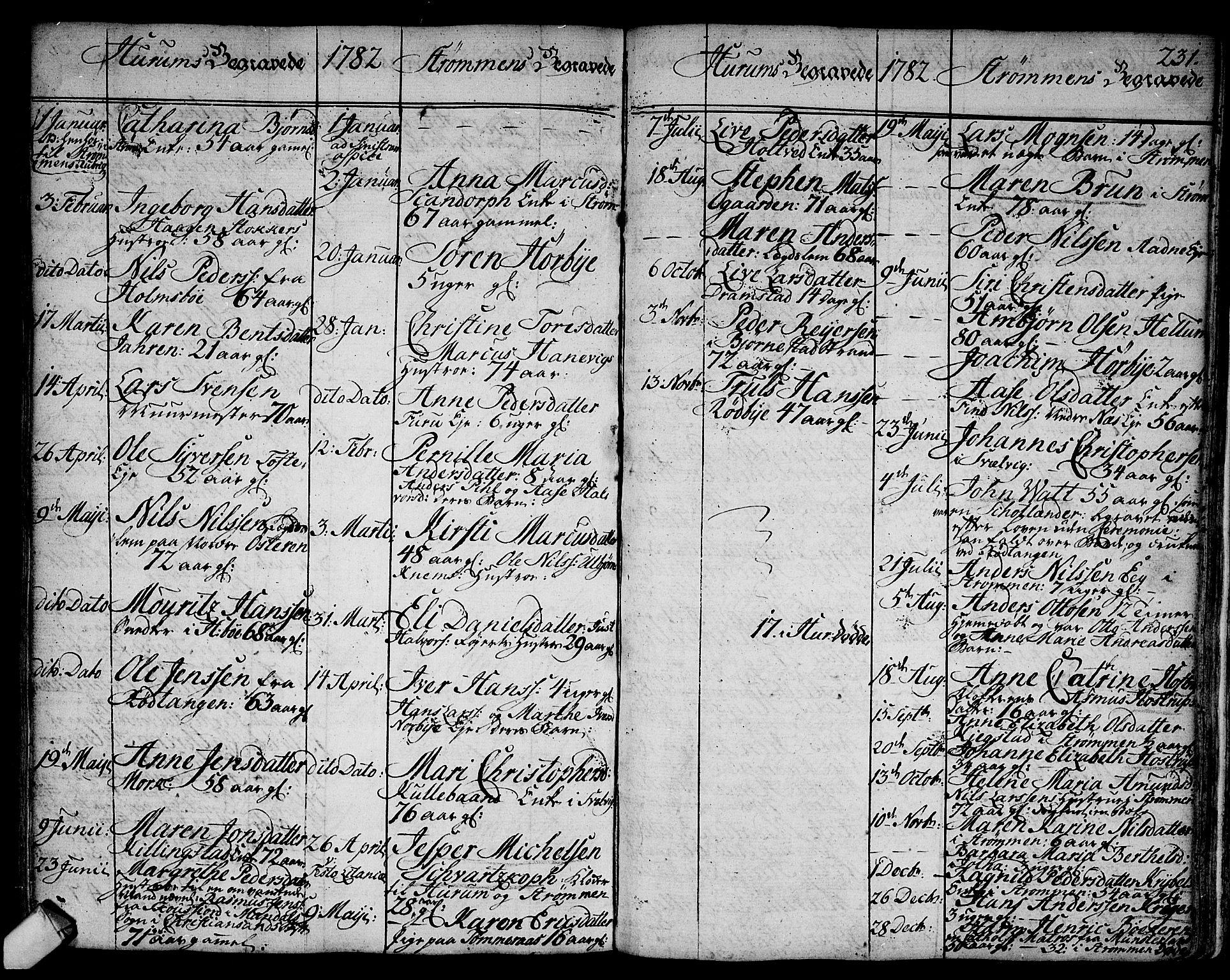 SAKO, Hurum kirkebøker, F/Fa/L0007: Ministerialbok nr. 7, 1771-1810, s. 231