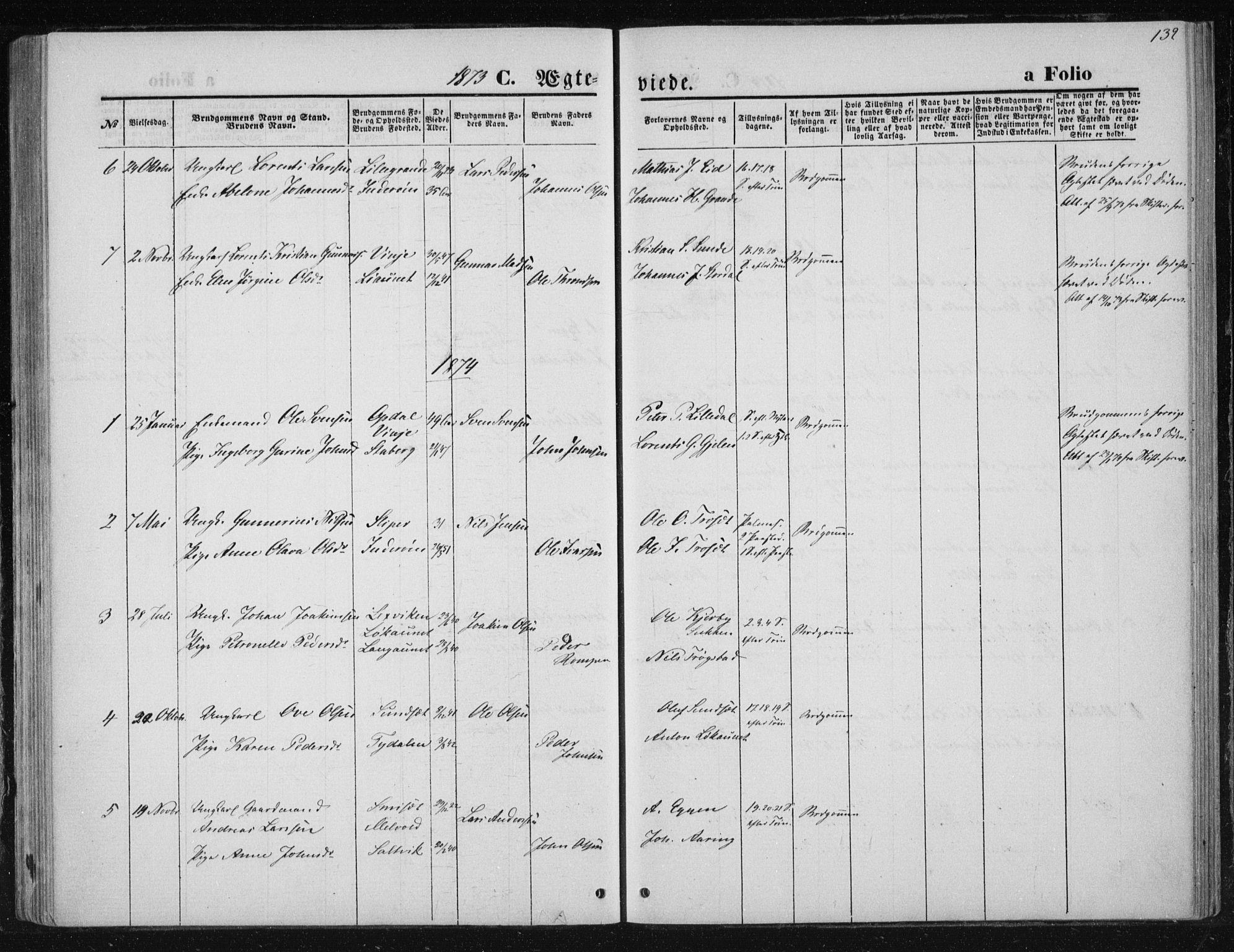 SAT, Ministerialprotokoller, klokkerbøker og fødselsregistre - Nord-Trøndelag, 733/L0324: Ministerialbok nr. 733A03, 1870-1883, s. 132
