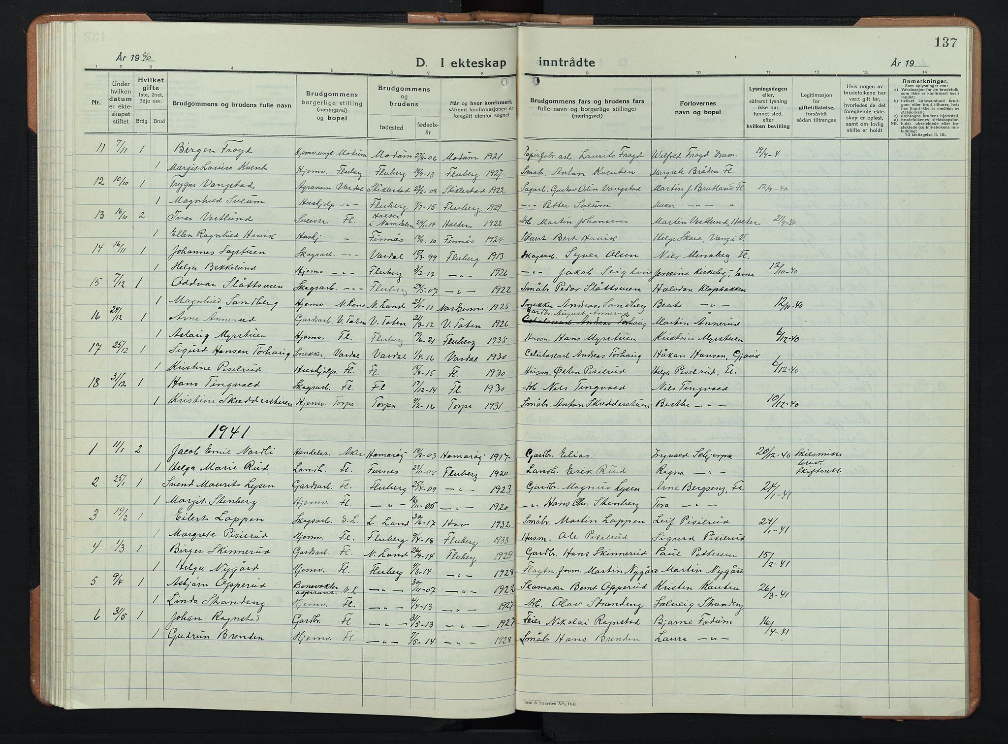 SAH, Søndre Land prestekontor, L/L0008: Klokkerbok nr. 8, 1926-1950, s. 137