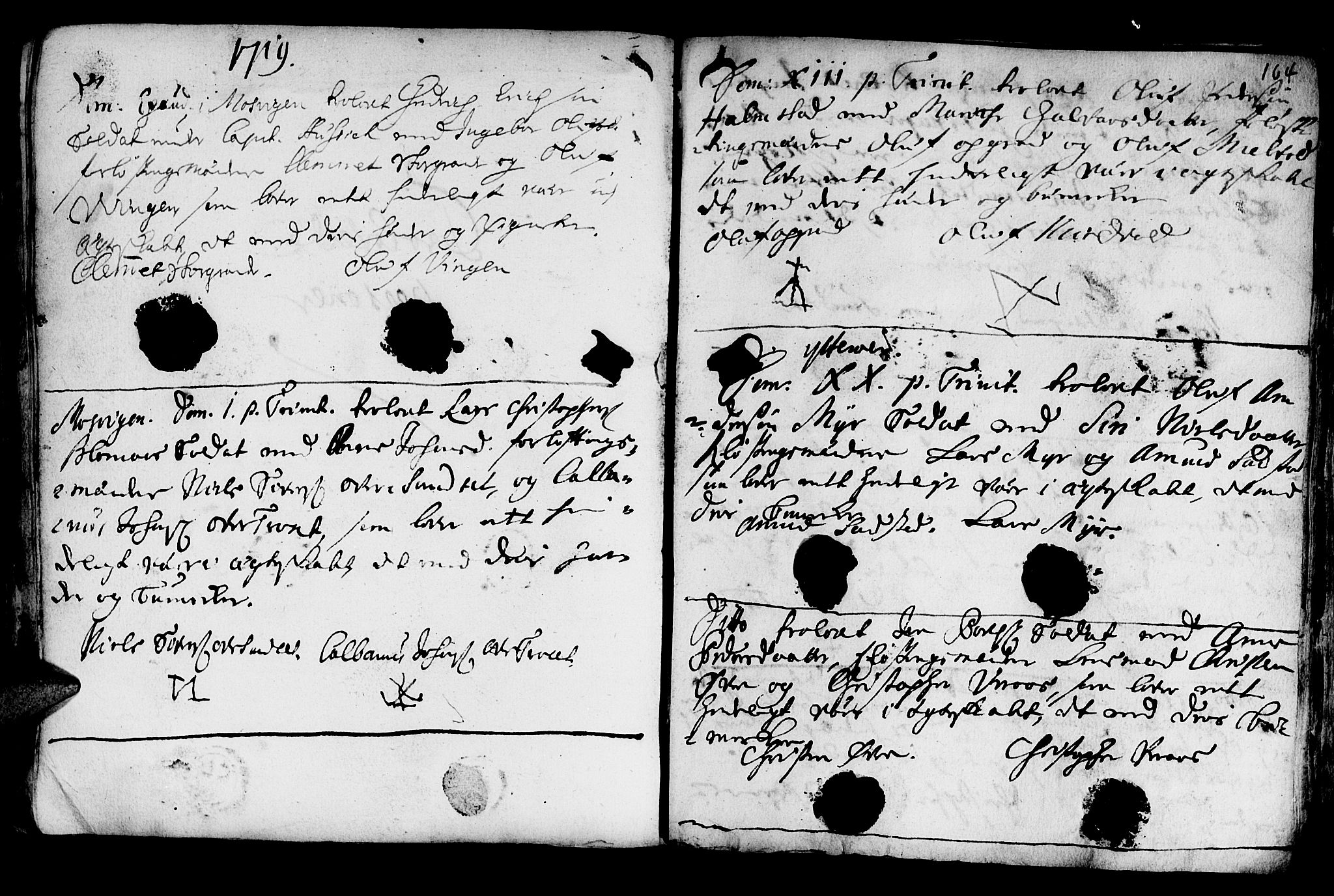 SAT, Ministerialprotokoller, klokkerbøker og fødselsregistre - Nord-Trøndelag, 722/L0215: Ministerialbok nr. 722A02, 1718-1755, s. 164