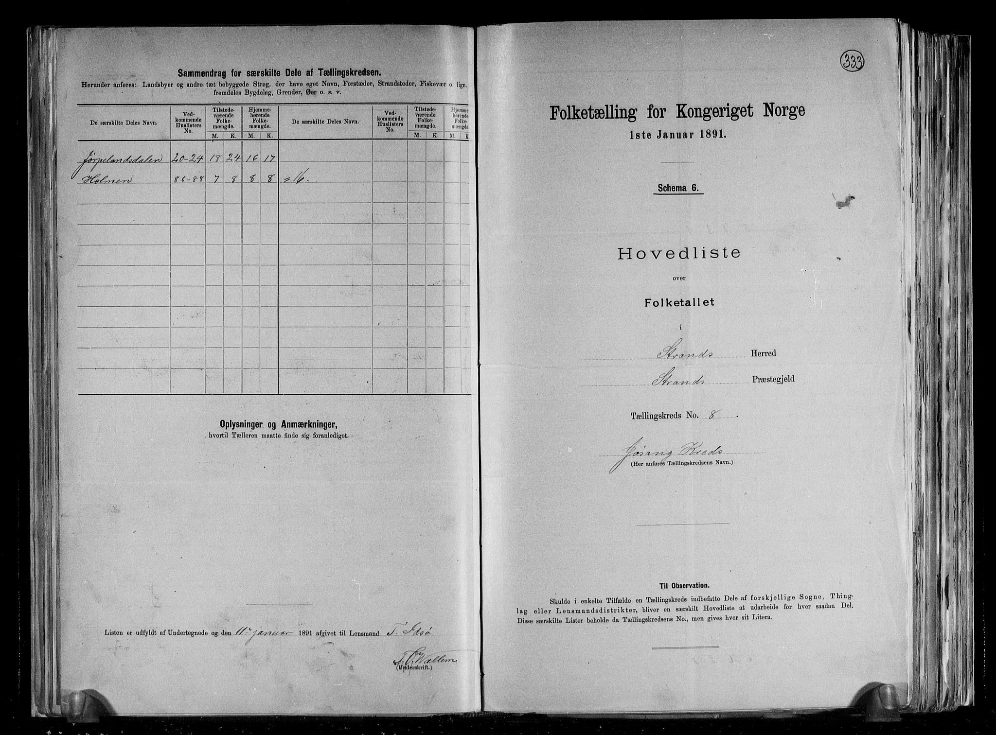 RA, Folketelling 1891 for 1130 Strand herred, 1891, s. 16
