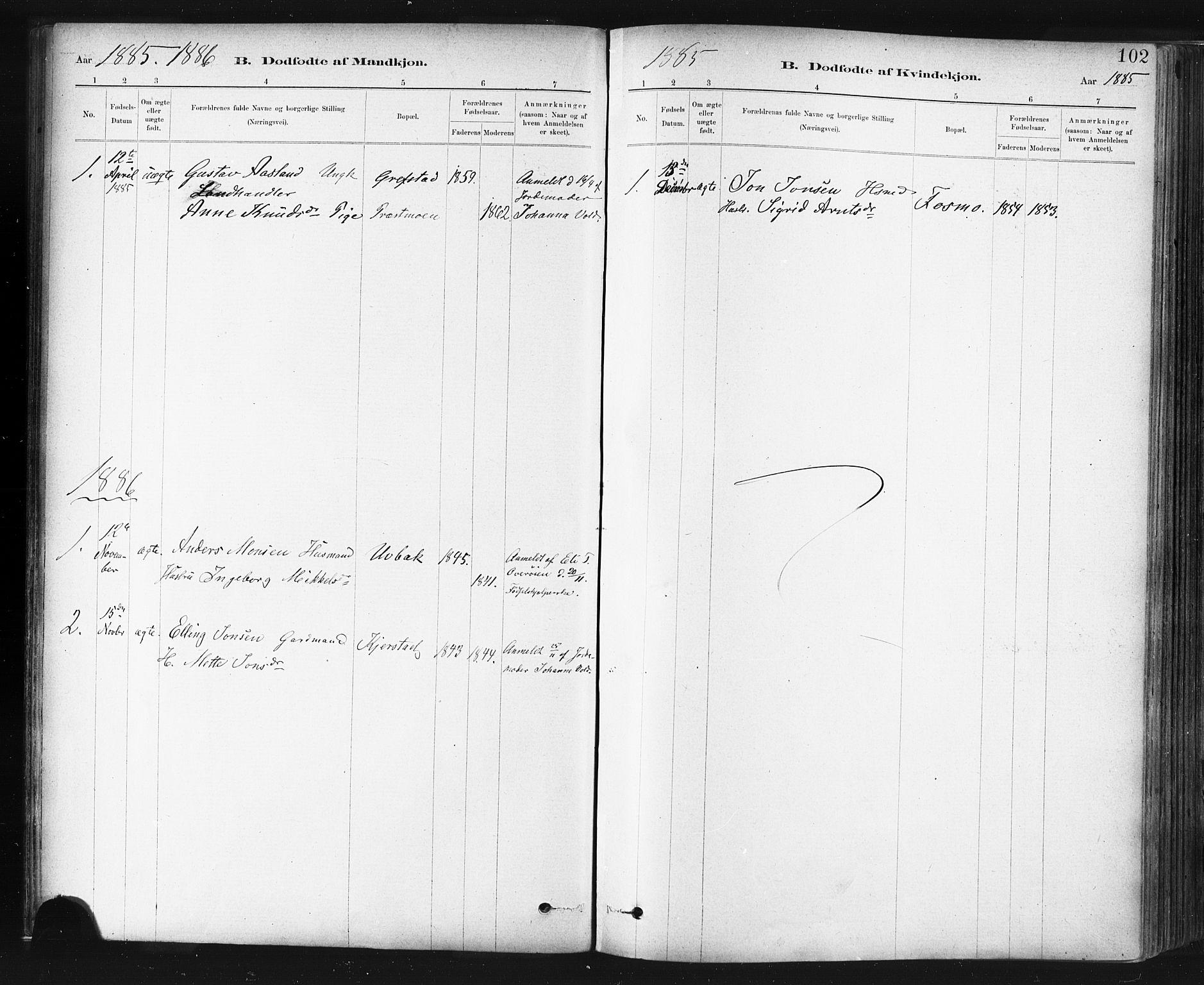 SAT, Ministerialprotokoller, klokkerbøker og fødselsregistre - Sør-Trøndelag, 672/L0857: Ministerialbok nr. 672A09, 1882-1893, s. 102