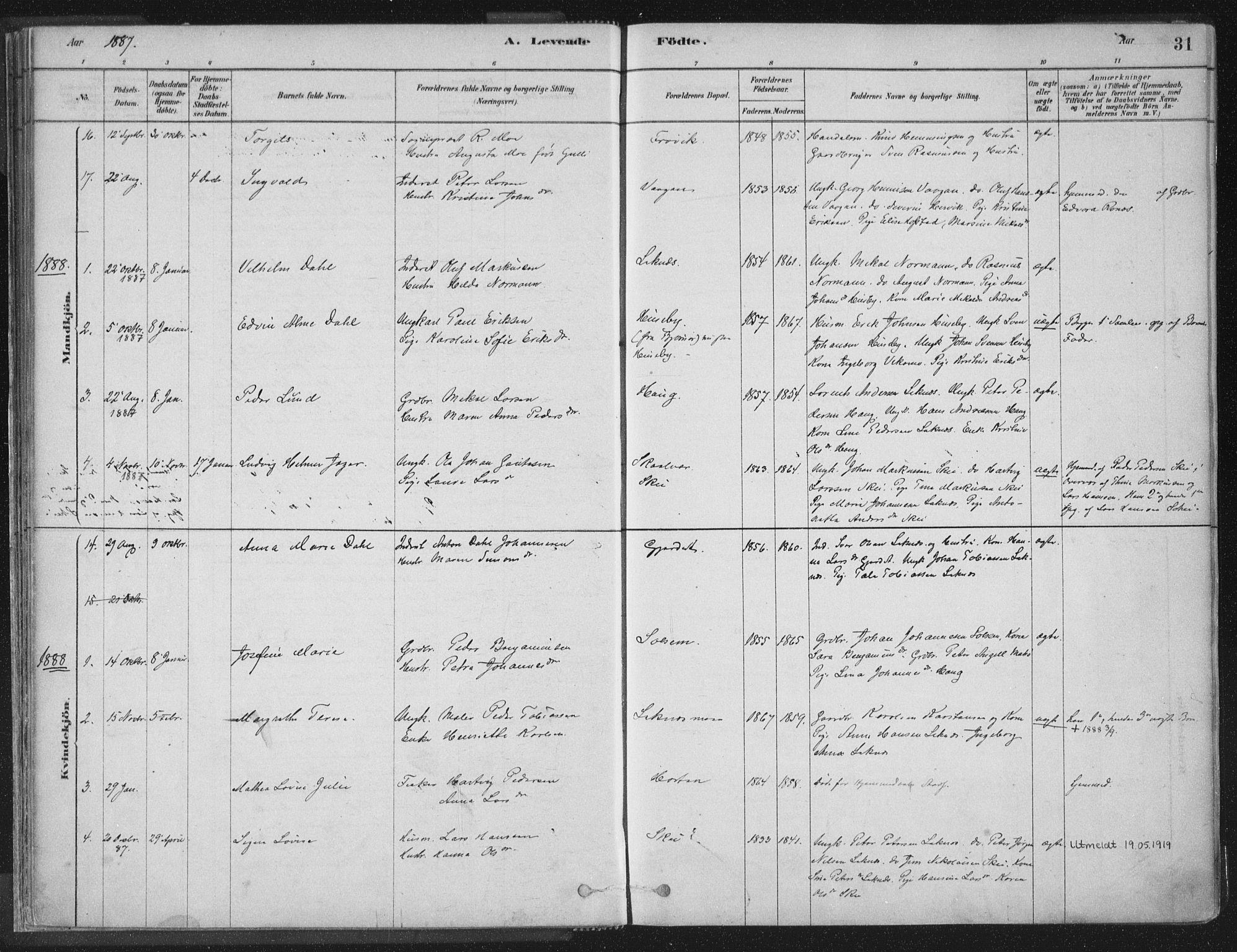 SAT, Ministerialprotokoller, klokkerbøker og fødselsregistre - Nord-Trøndelag, 788/L0697: Ministerialbok nr. 788A04, 1878-1902, s. 31