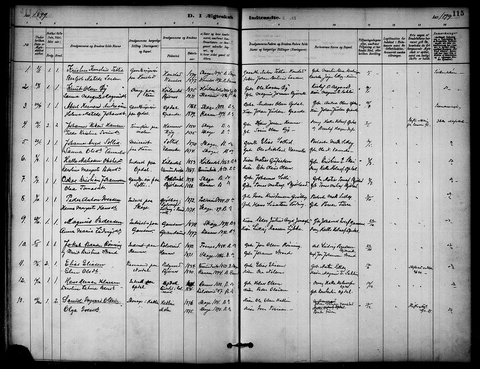 SAT, Ministerialprotokoller, klokkerbøker og fødselsregistre - Nord-Trøndelag, 766/L0563: Ministerialbok nr. 767A01, 1881-1899, s. 115