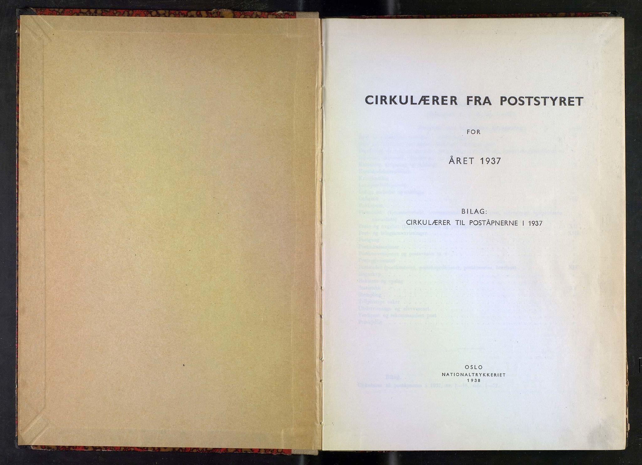 NOPO, Norges Postmuseums bibliotek, -/-: Sirkulærer fra Poststyret, 1937