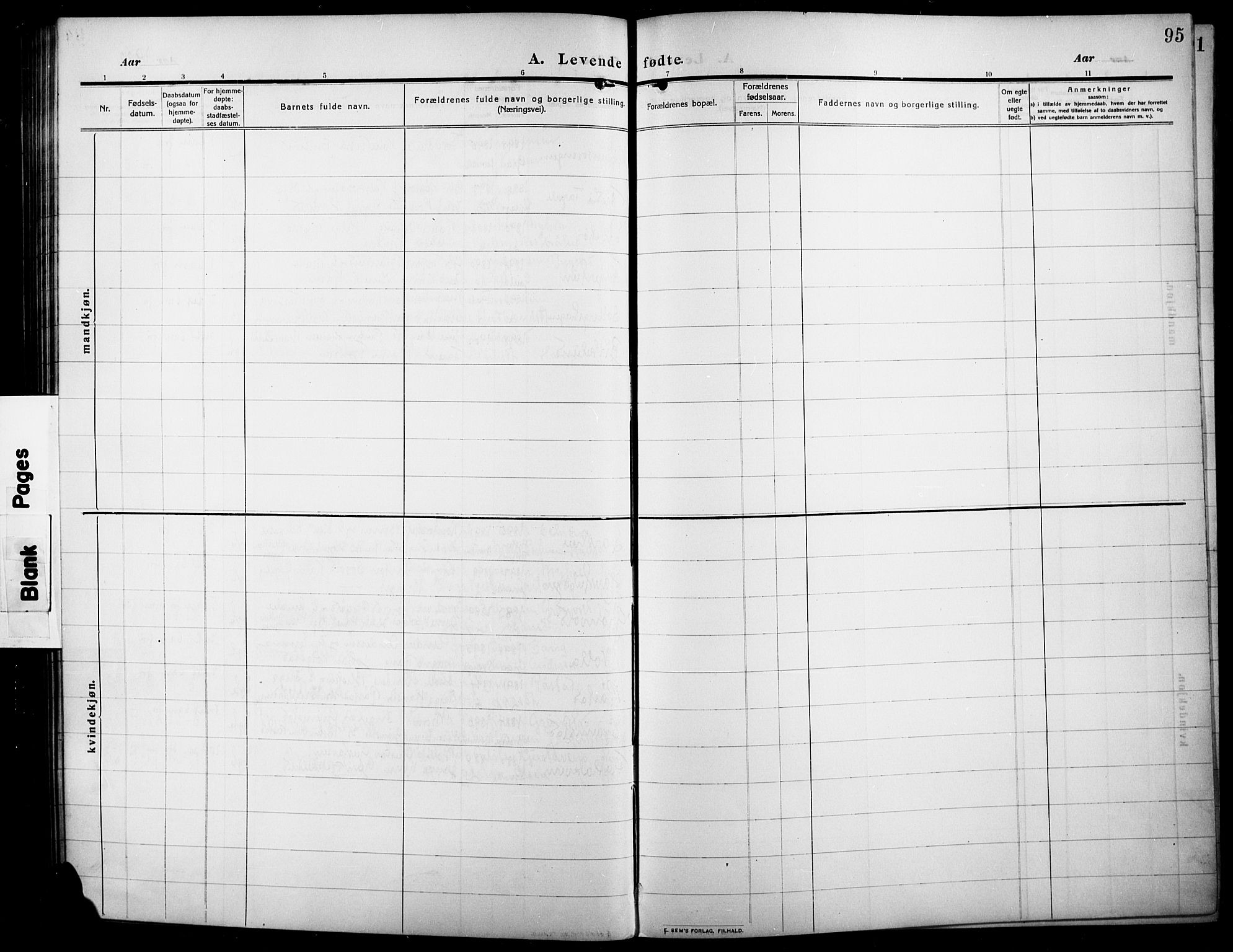 SAH, Lunner prestekontor, H/Ha/Hab/L0001: Klokkerbok nr. 1, 1909-1922, s. 95