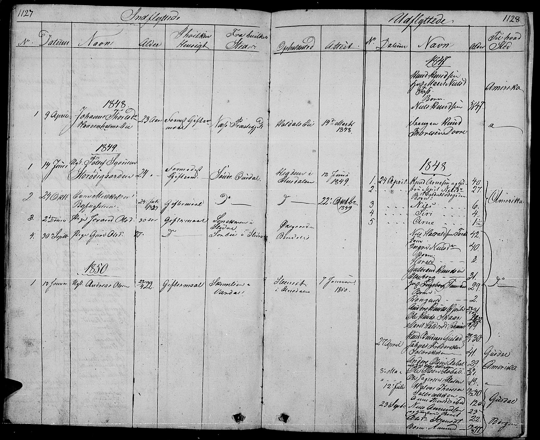 SAH, Nord-Aurdal prestekontor, Klokkerbok nr. 1, 1834-1887, s. 1127-1128