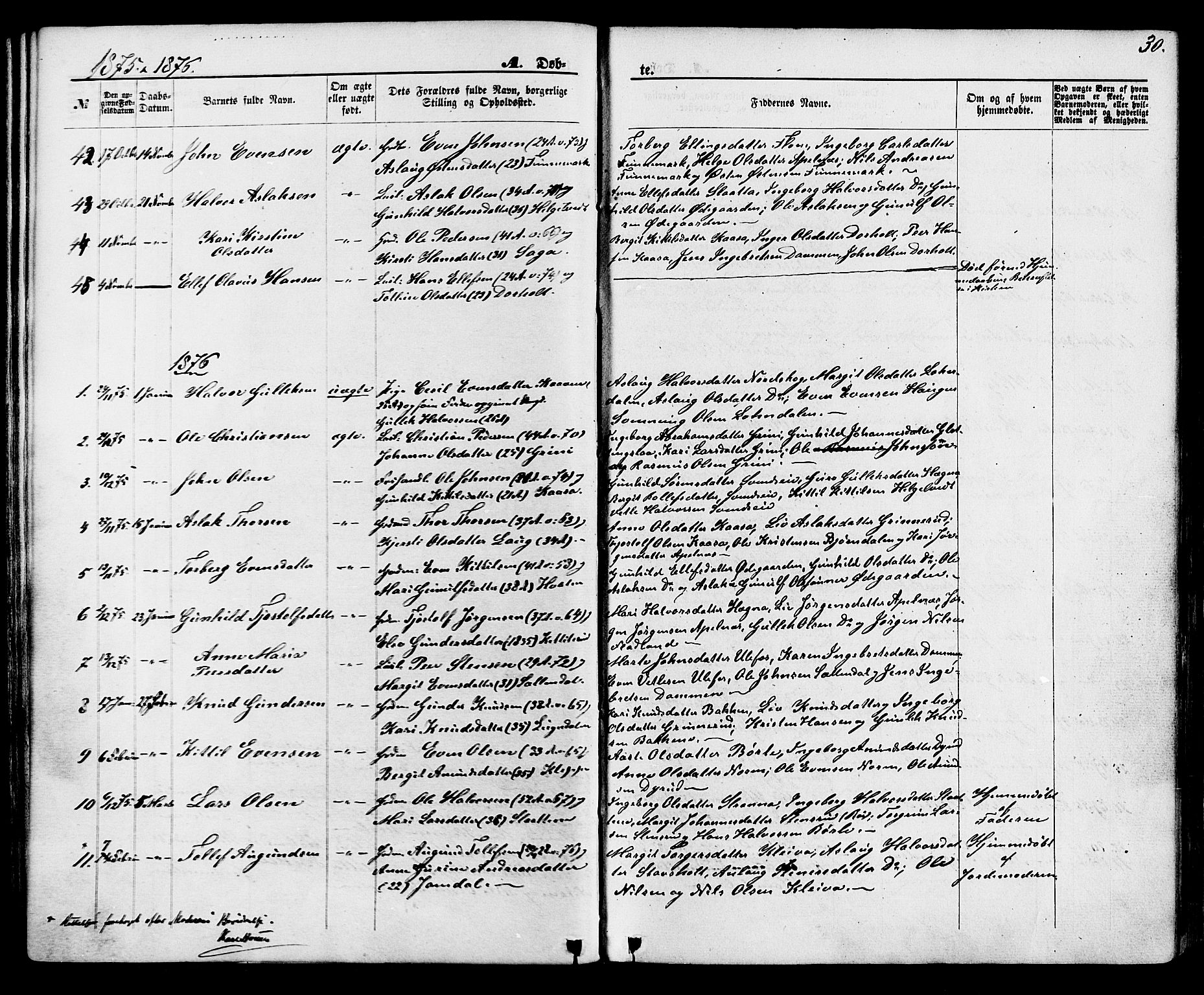 SAKO, Lunde kirkebøker, F/Fa/L0001: Ministerialbok nr. I 1, 1866-1883, s. 30